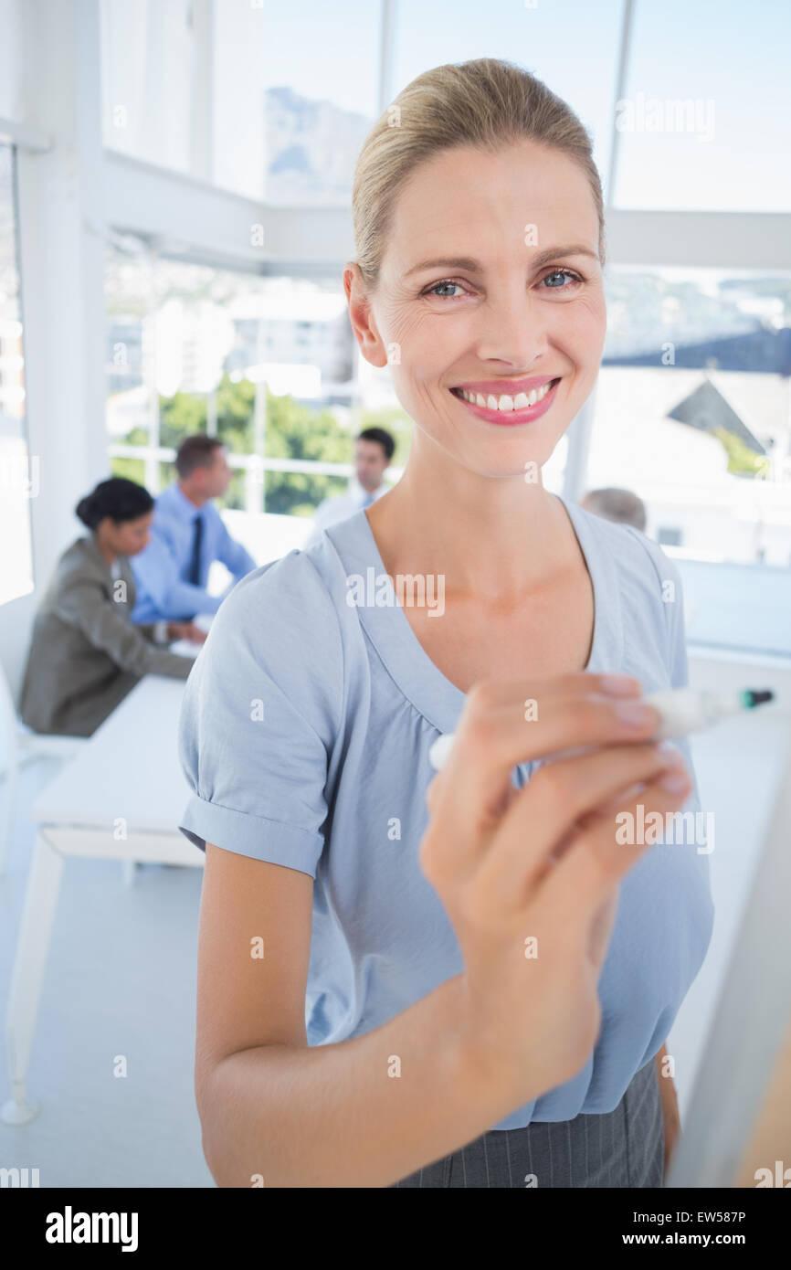 Portrait des idées de remue-méninges à bord Photo Stock