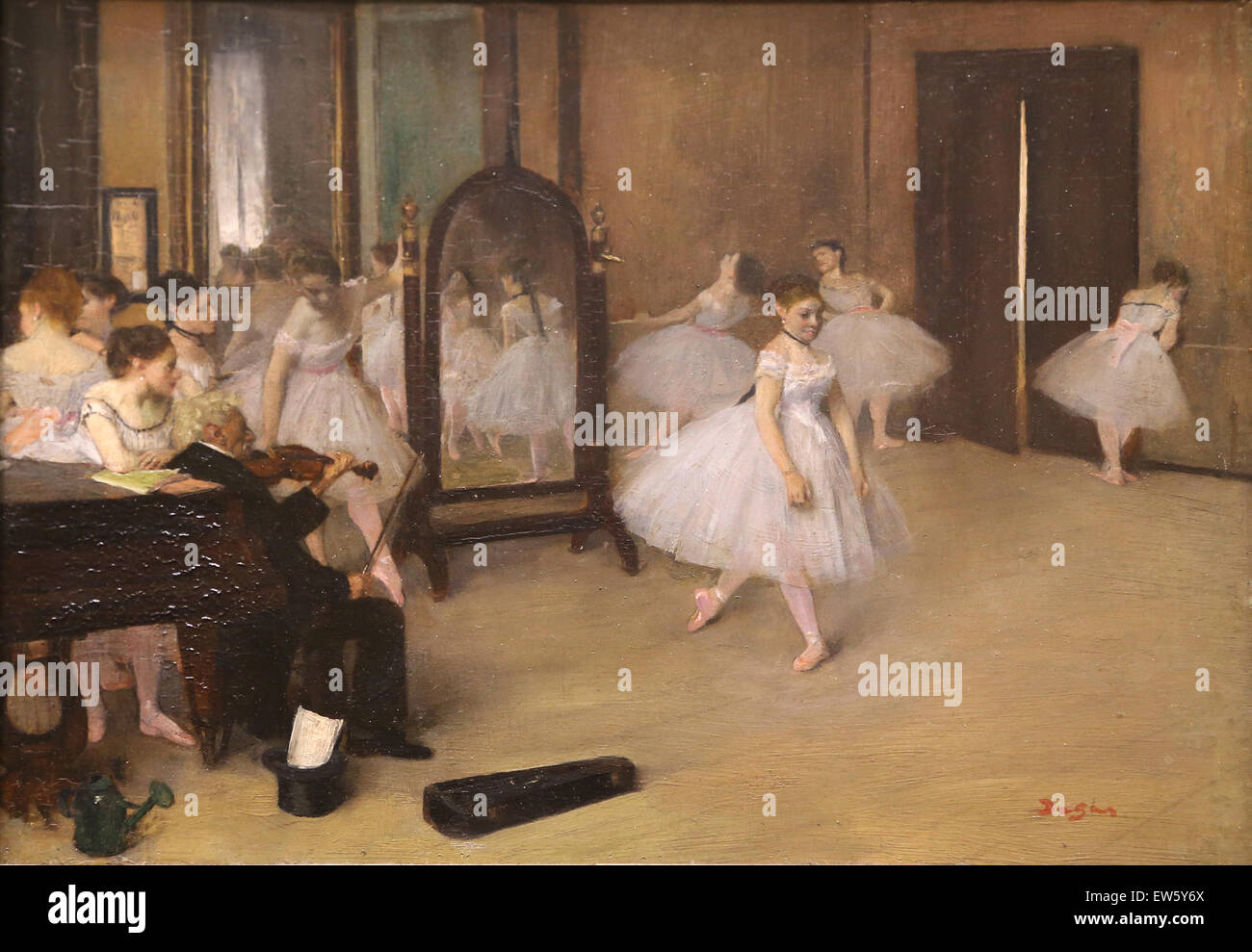 Edgar Degas (1834-1917). Le peintre français. La classe de danse, 1870. Huile sur bois. Photo Stock