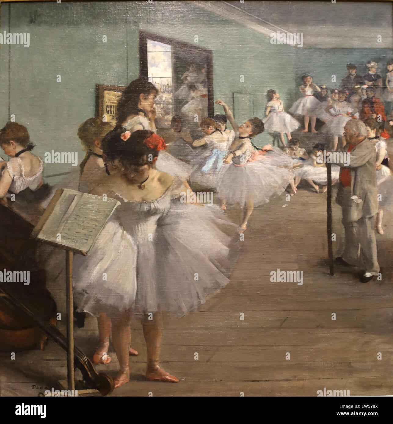 Edgar Degas (1834-1917). Le peintre français. La classe de danse, 1874. Huile sur toile. Metropolitan Museum Photo Stock