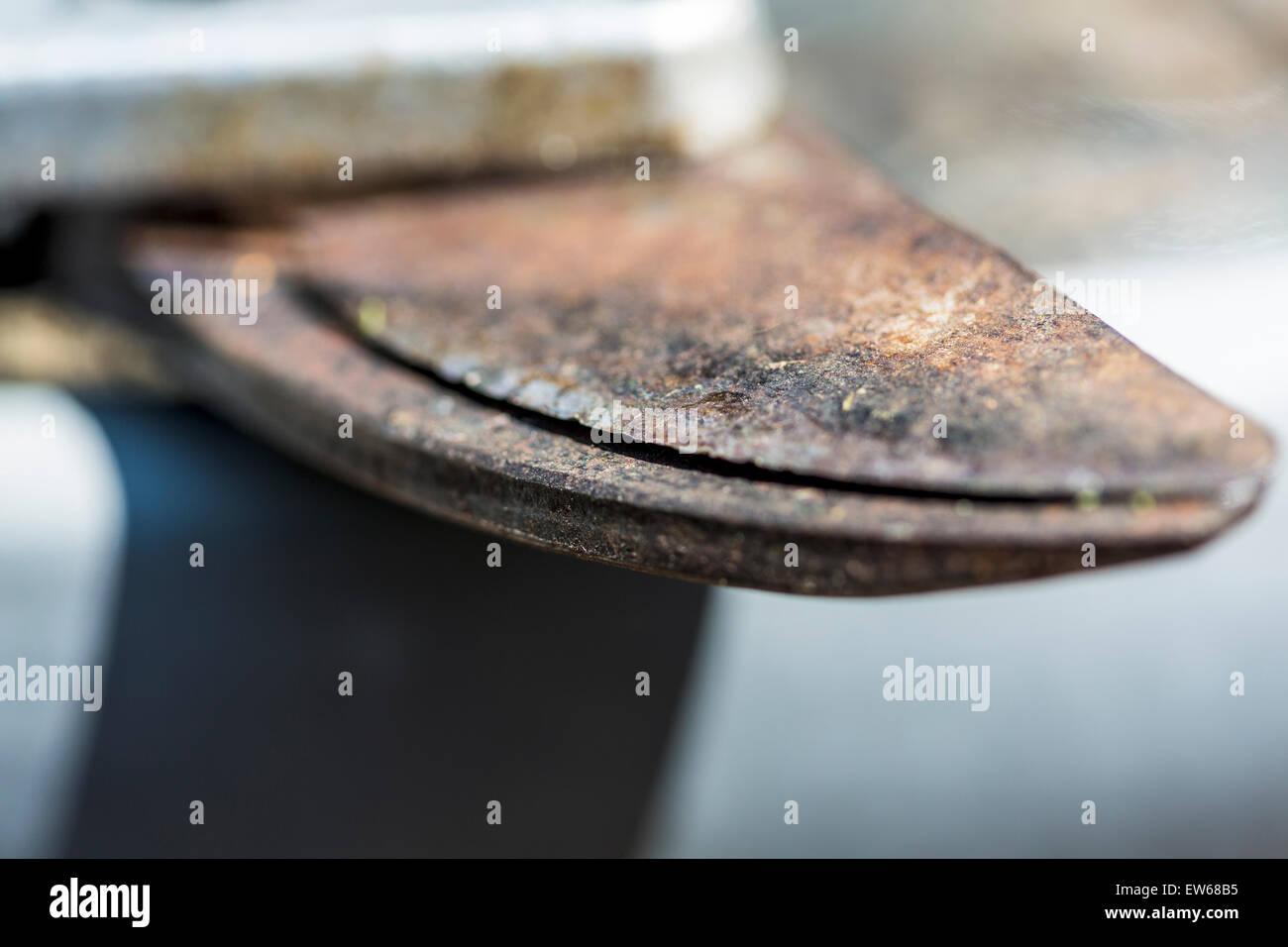 Les Lames d'un sécateur en acier rouillé Photo Stock