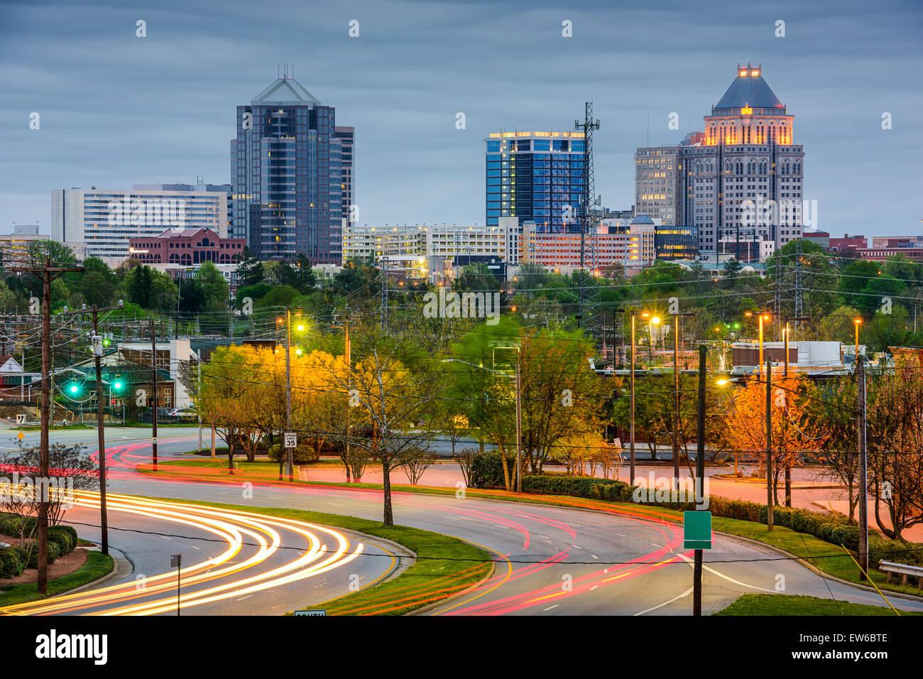 Greensboro, North Carolina, USA sur le centre-ville. Photo Stock