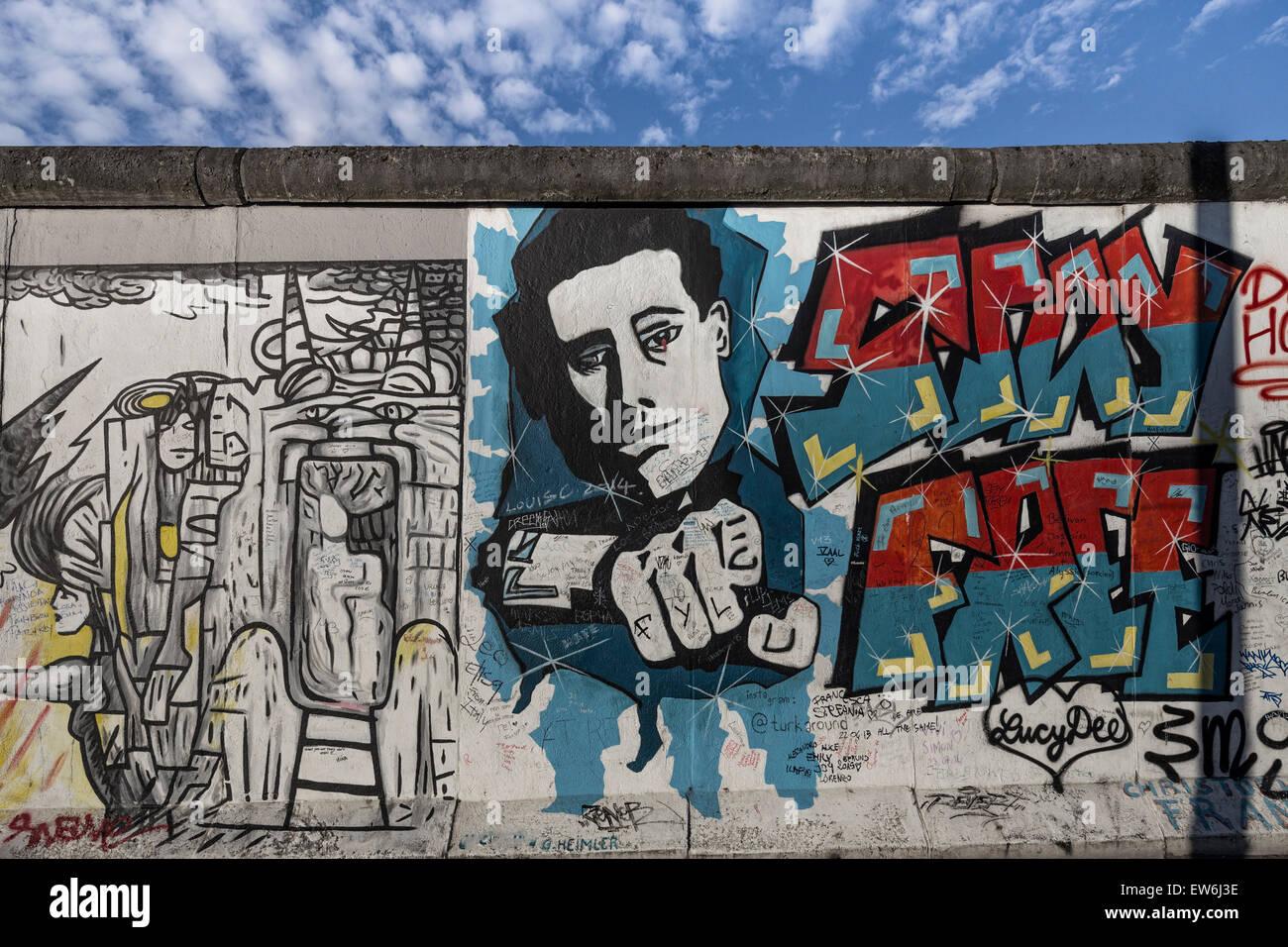 Mur de Berlin, East Side Gallery, Berlin, Allemagne Photo Stock