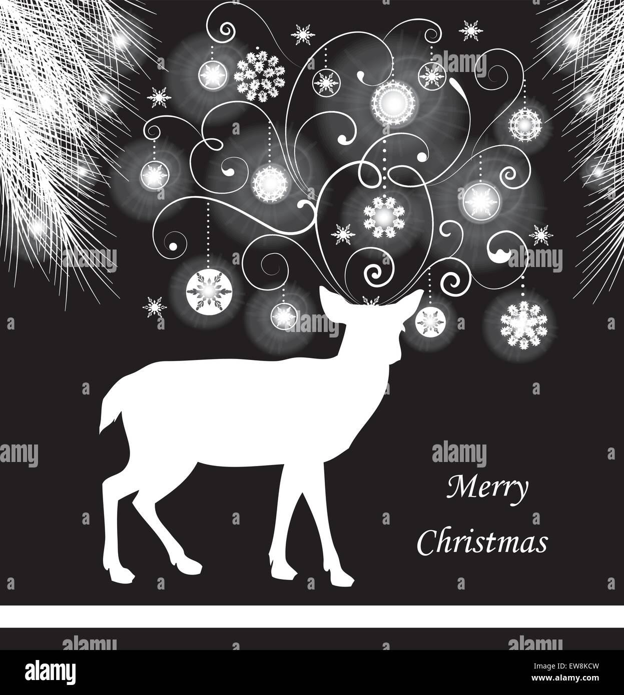 Carte De Noël Vintage Avec Un élégant Design Floral Abstrait
