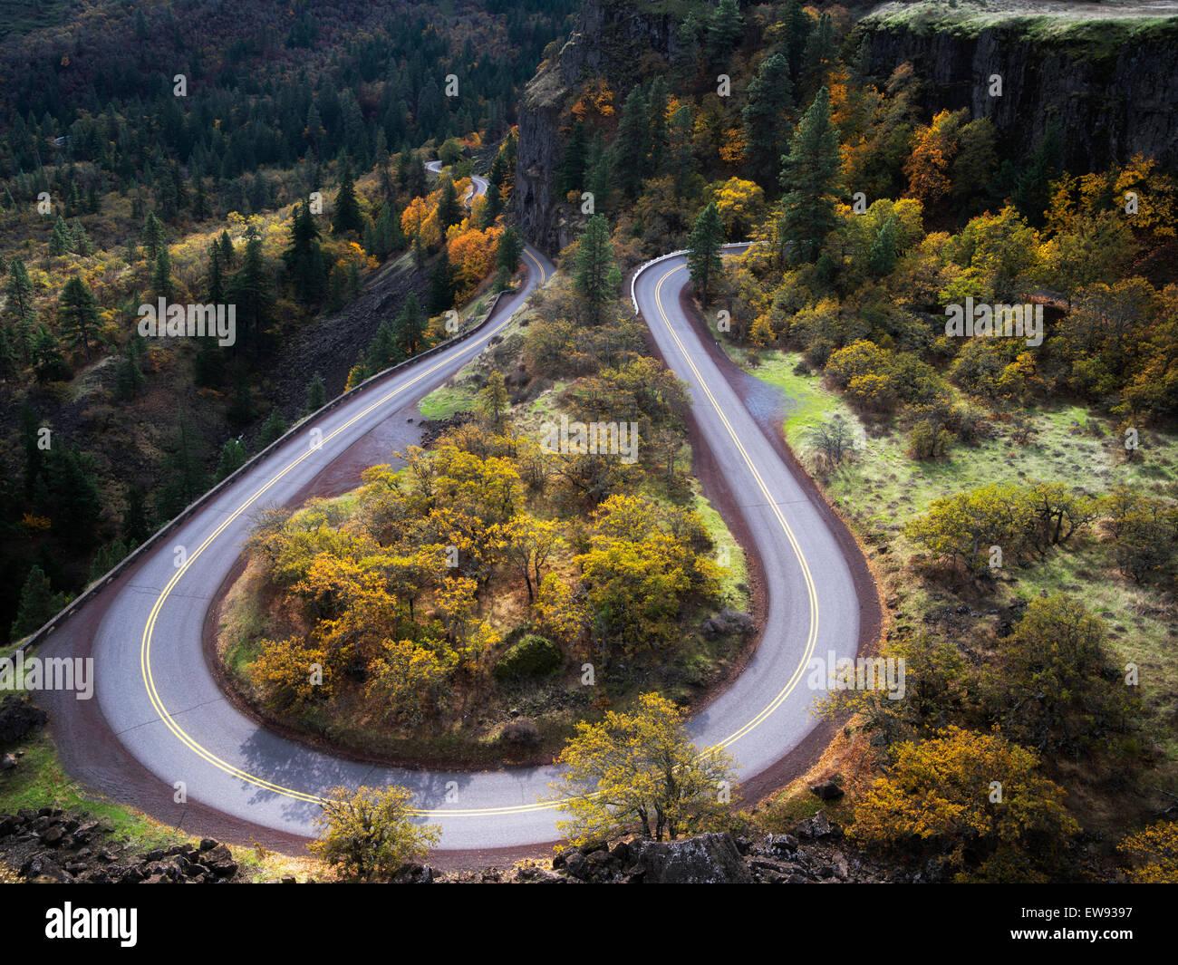 Curving road (Columbia River Gorge Route historique) avec les couleurs de l'automne. Columbia River Gorge National Photo Stock