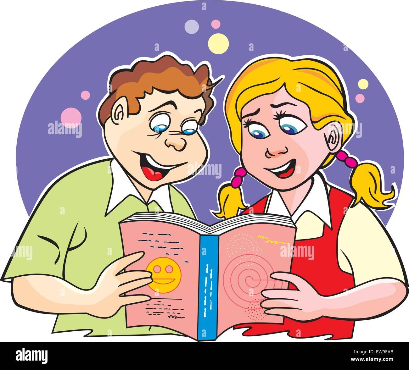 Des Enfants Aux Etudes Garcon Et Fille Ensemble Lire Un