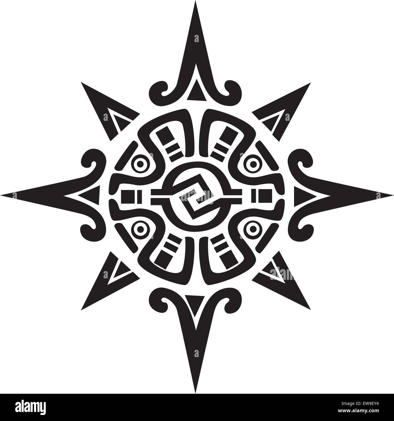 Inca Maya Ou Symbole D Un Soleil Ou D Etoile Isole Sur Blanc Super