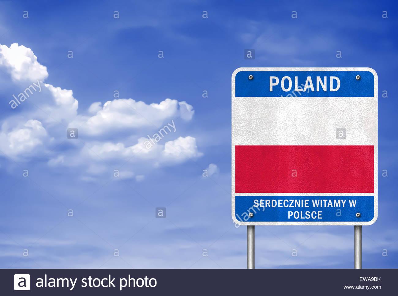 bienvenue en pologne panneau routier avec le drapeau polonais banque d 39 images photo stock. Black Bedroom Furniture Sets. Home Design Ideas