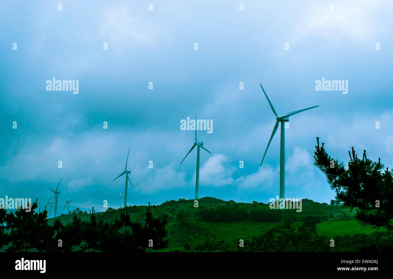 Ventilateur de l'énergie éolienne photo prise à Yangam hill, Corée du Sud, Photo Stock