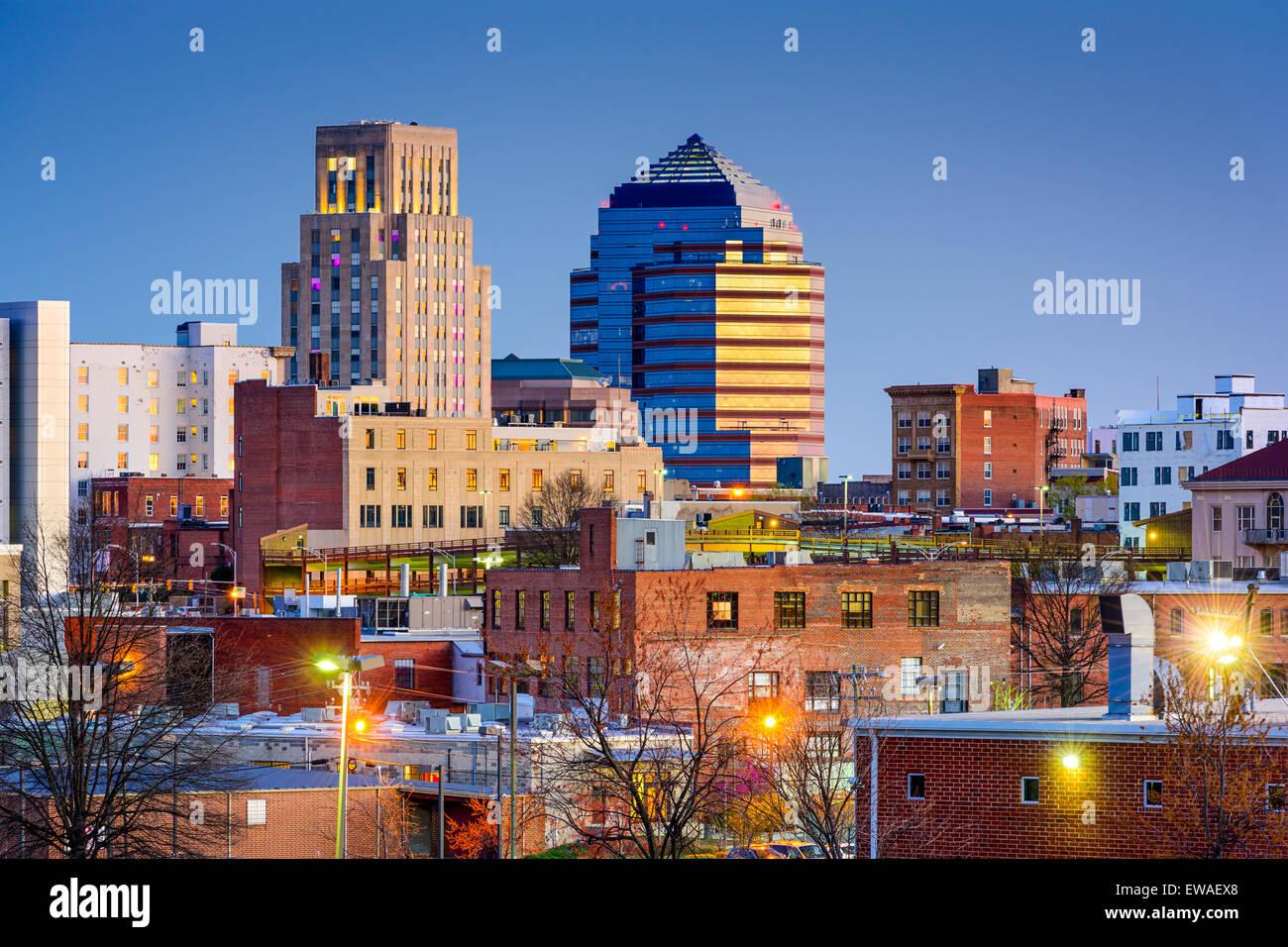 Durham, North Carolina, USA sur le centre-ville. Photo Stock