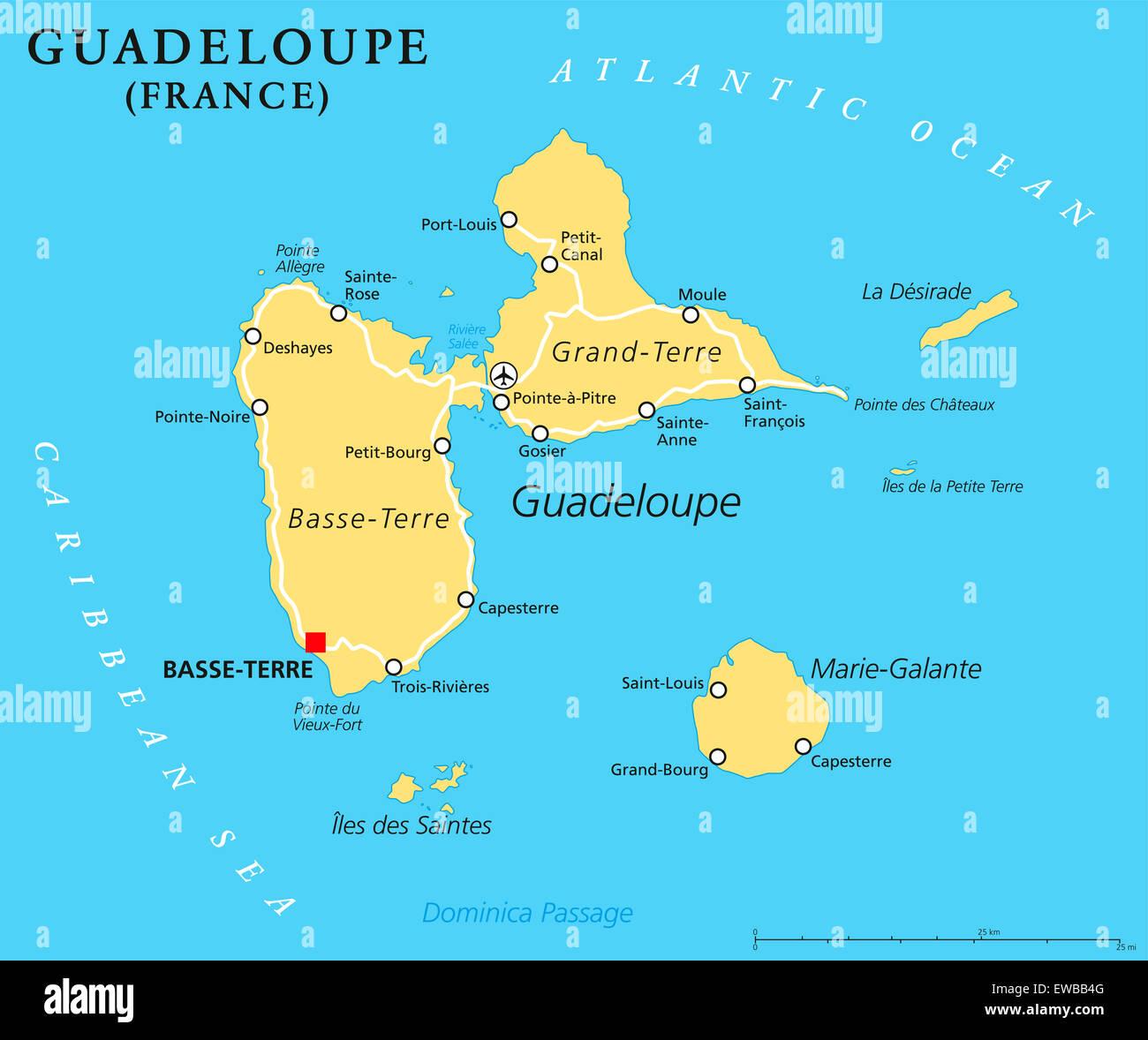Carte Politique de la Guadeloupe Basse-Terre, capitale de région d'outre-mer de la France dans les îles sous le vent, une partie de Petites Antilles. Banque D'Images