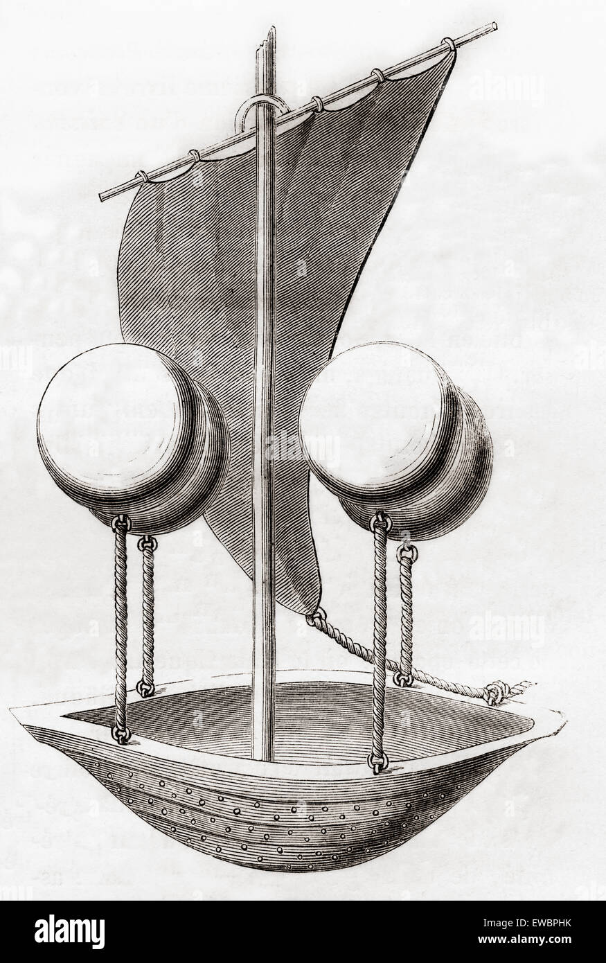 Francesco de Lana Terzi's Flying Boat concept c.1670. Francesco de Lana Terzi, 1631 - 1687. Jésuite italien, Photo Stock