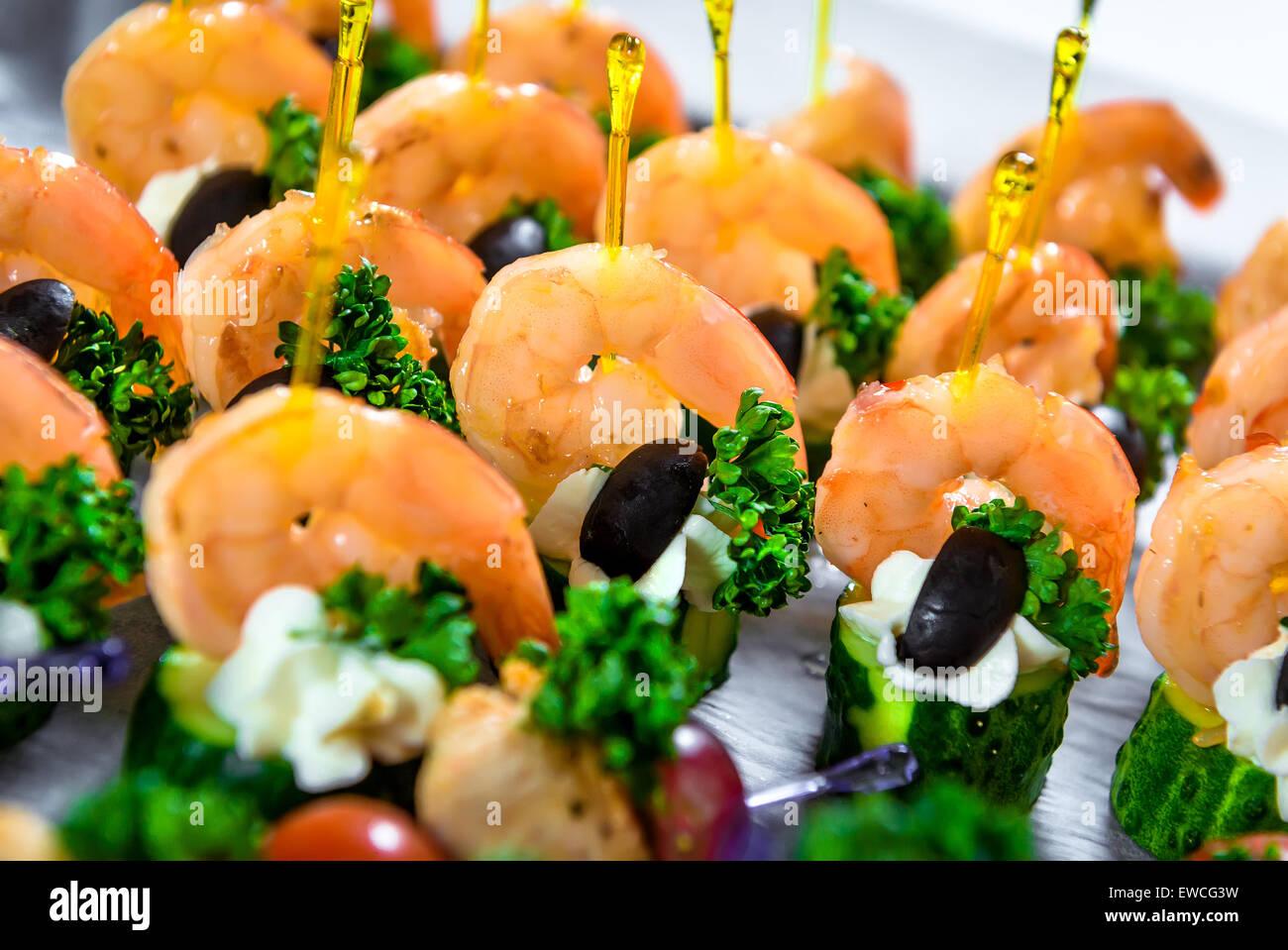 Les fruits de mer délicieux canapés Photo Stock