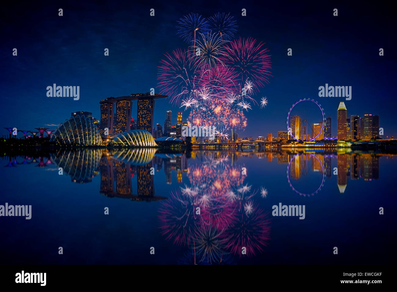 D'artifice de Singapour Photo Stock