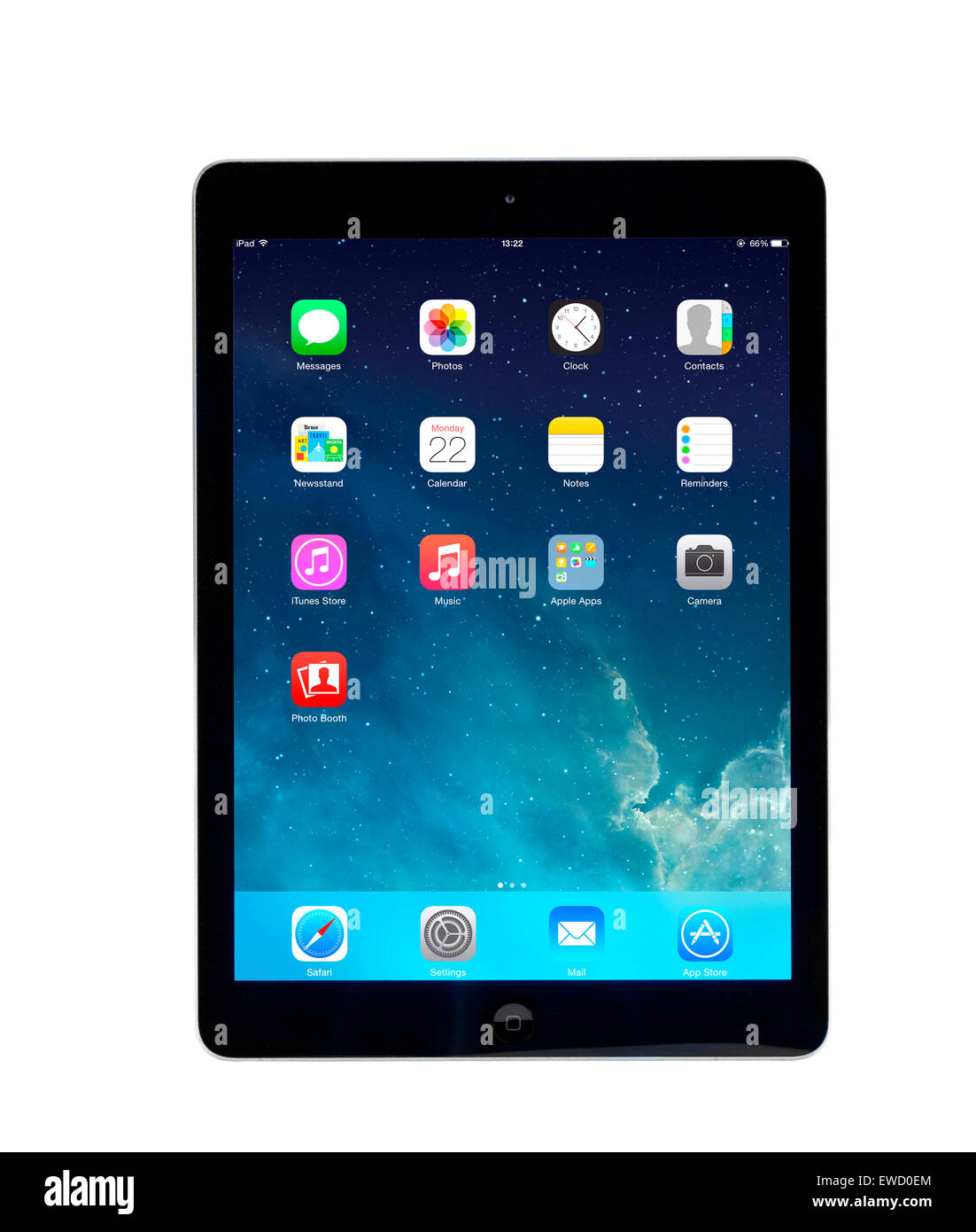 Écran d'accueil sur un ordinateur tablette Apple iPad Air Photo Stock