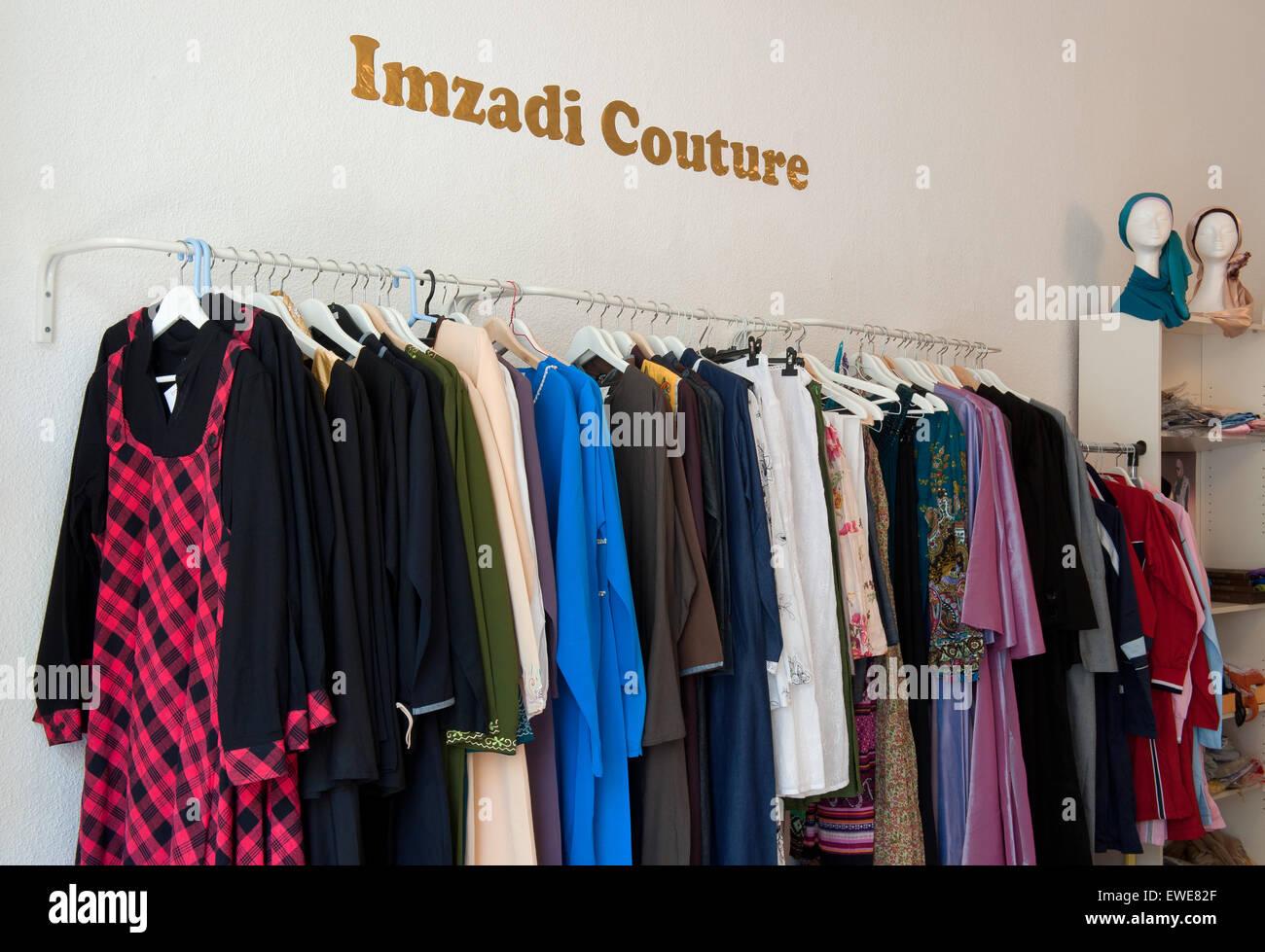 Berlin, Allemagne, Imzadi couture, mode pour les filles et les femmes musulmanes Photo Stock
