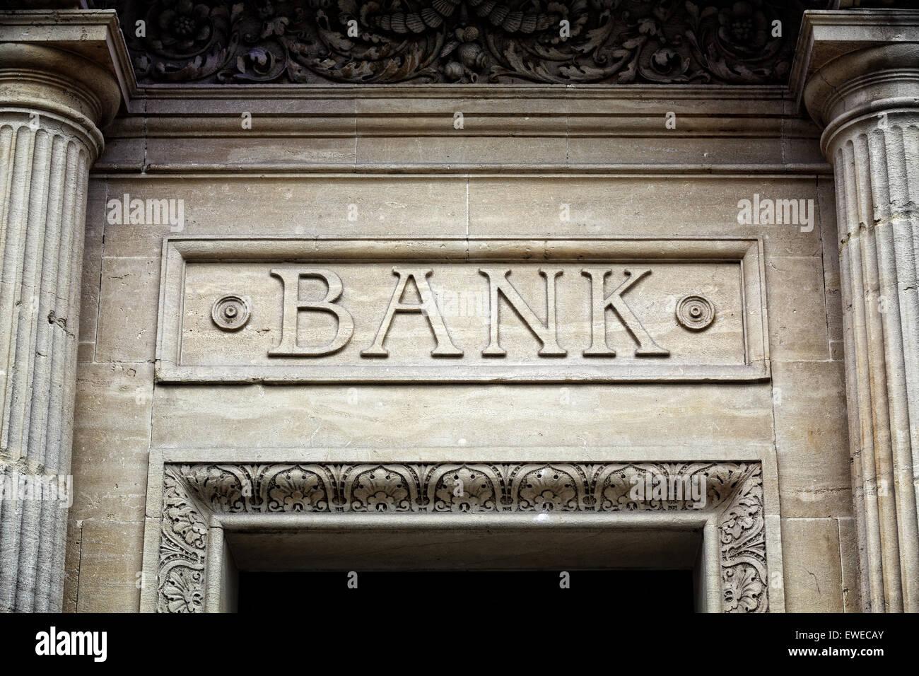 Signe de la Banque sur la construction Photo Stock