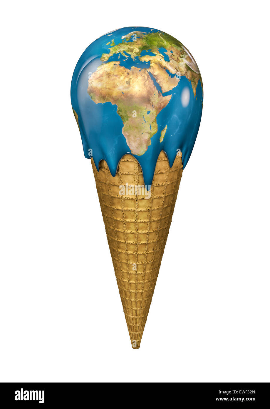 3D render of Earth ice cream cone Photo Stock