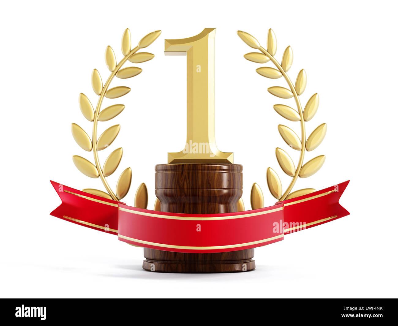 Premier prix Gold trophy isolé sur fond blanc Photo Stock