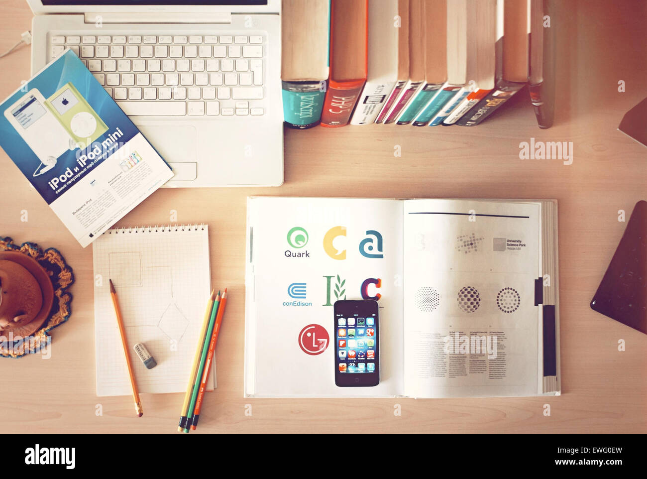 Desktop Still Life with Books and laptop computer Photo Stock
