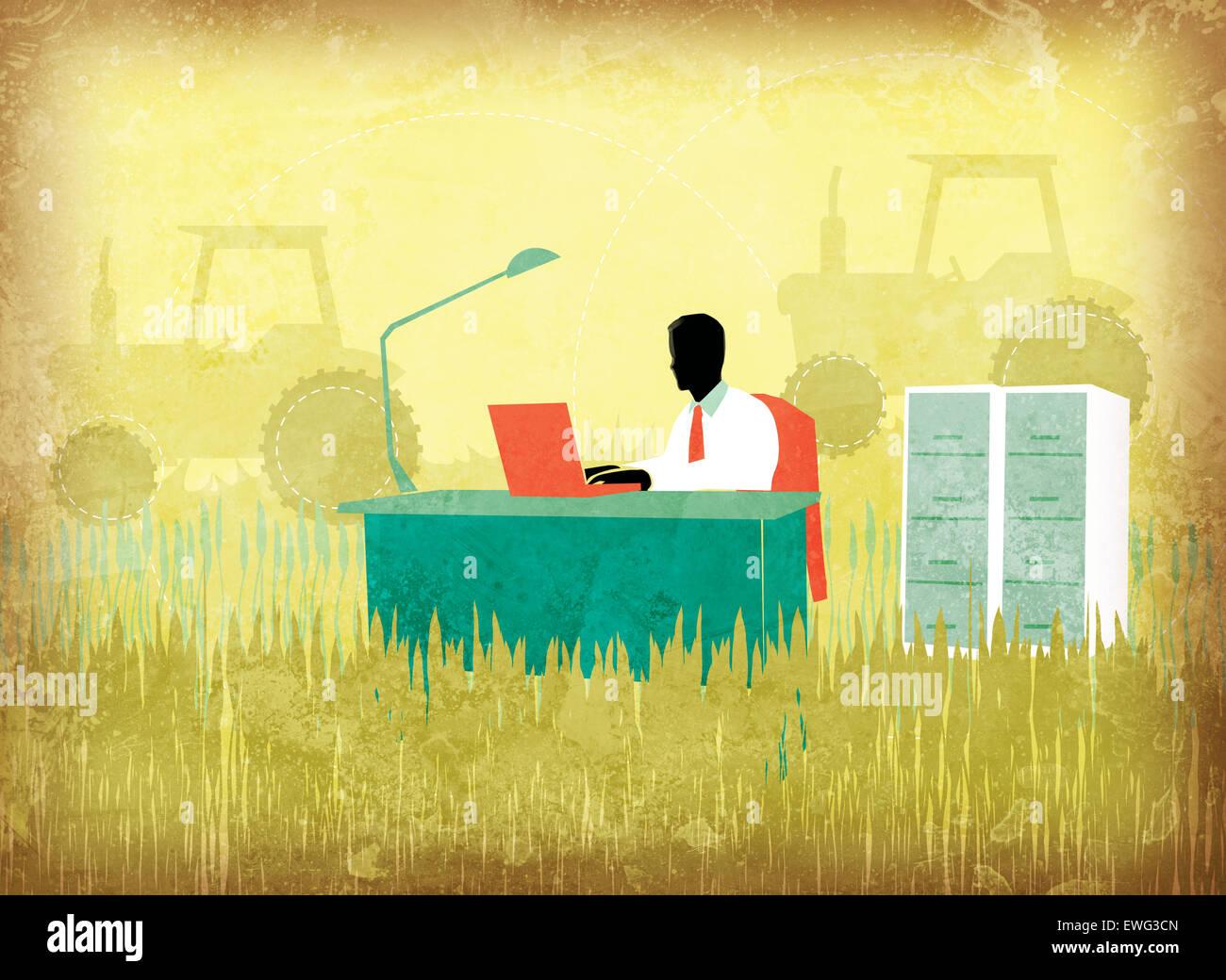 Illustration libre de businessman using laptop on agricultural field Photo Stock