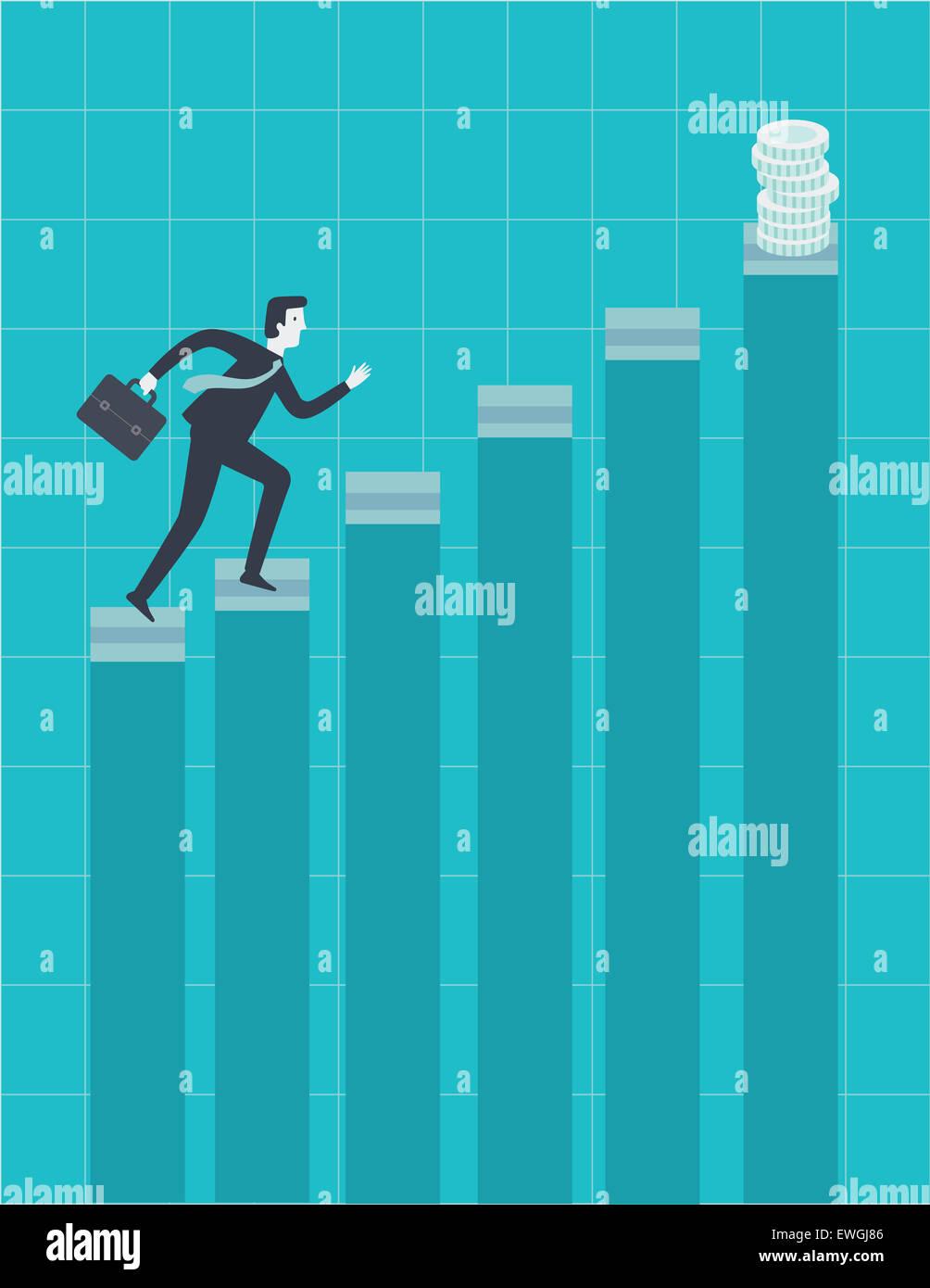 Businessman déménagement vers le haut de l'échelle pour attraper des incitations de sa performance Photo Stock