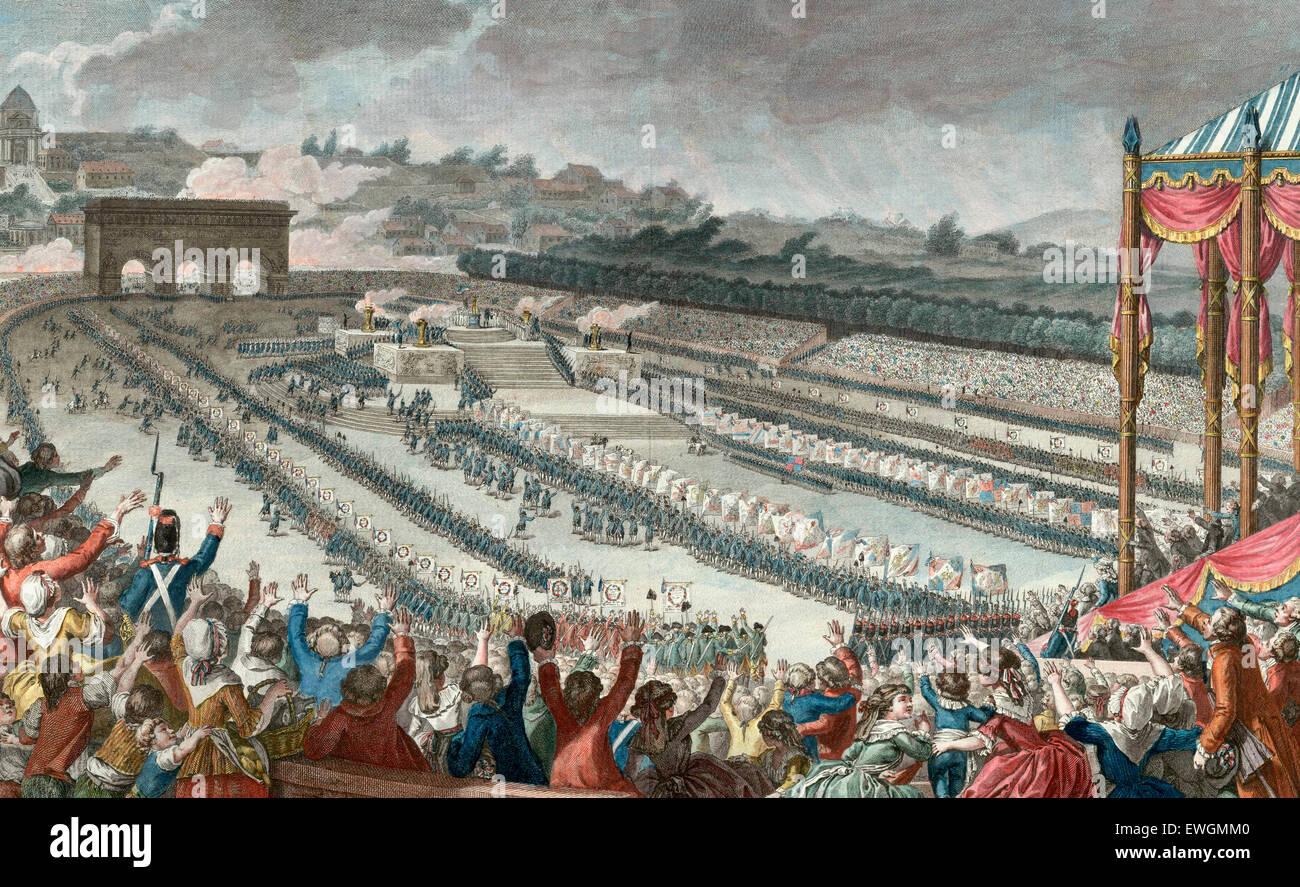 La Fête de la Fédération, qui a eu lieu dans le Champ de Mars, en Juillet 14, 1790. Gravure sur bois Photo Stock