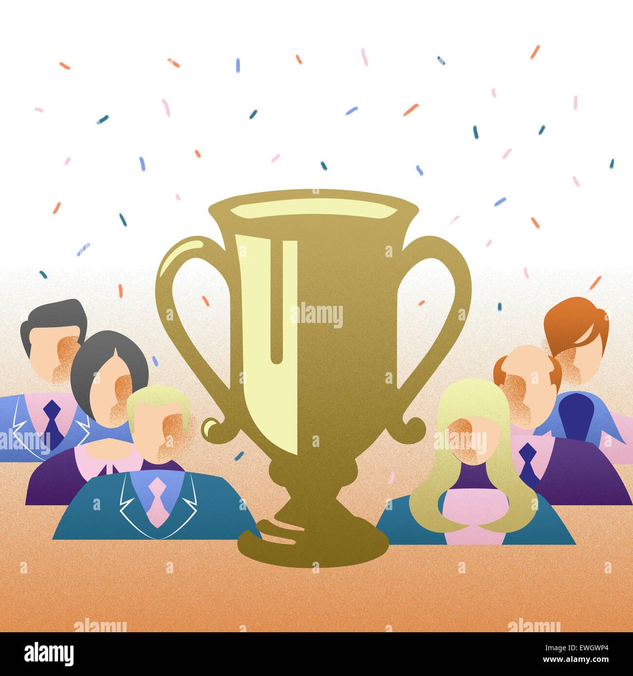 Cérémonie de remise des prix à l'entreprise en attente d'être récompensés pour leur réussite en face de trophy Banque D'Images