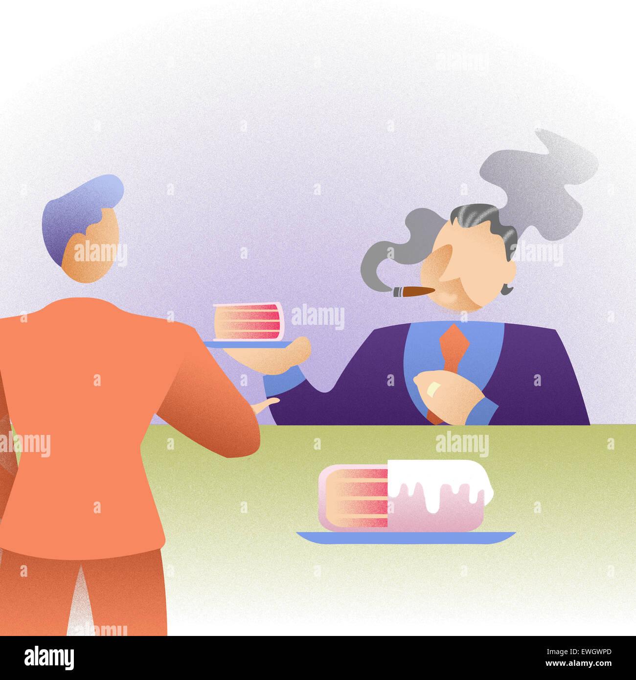 Patron donnant tranche de gâteau à son employé en tant qu'incitatif Banque D'Images