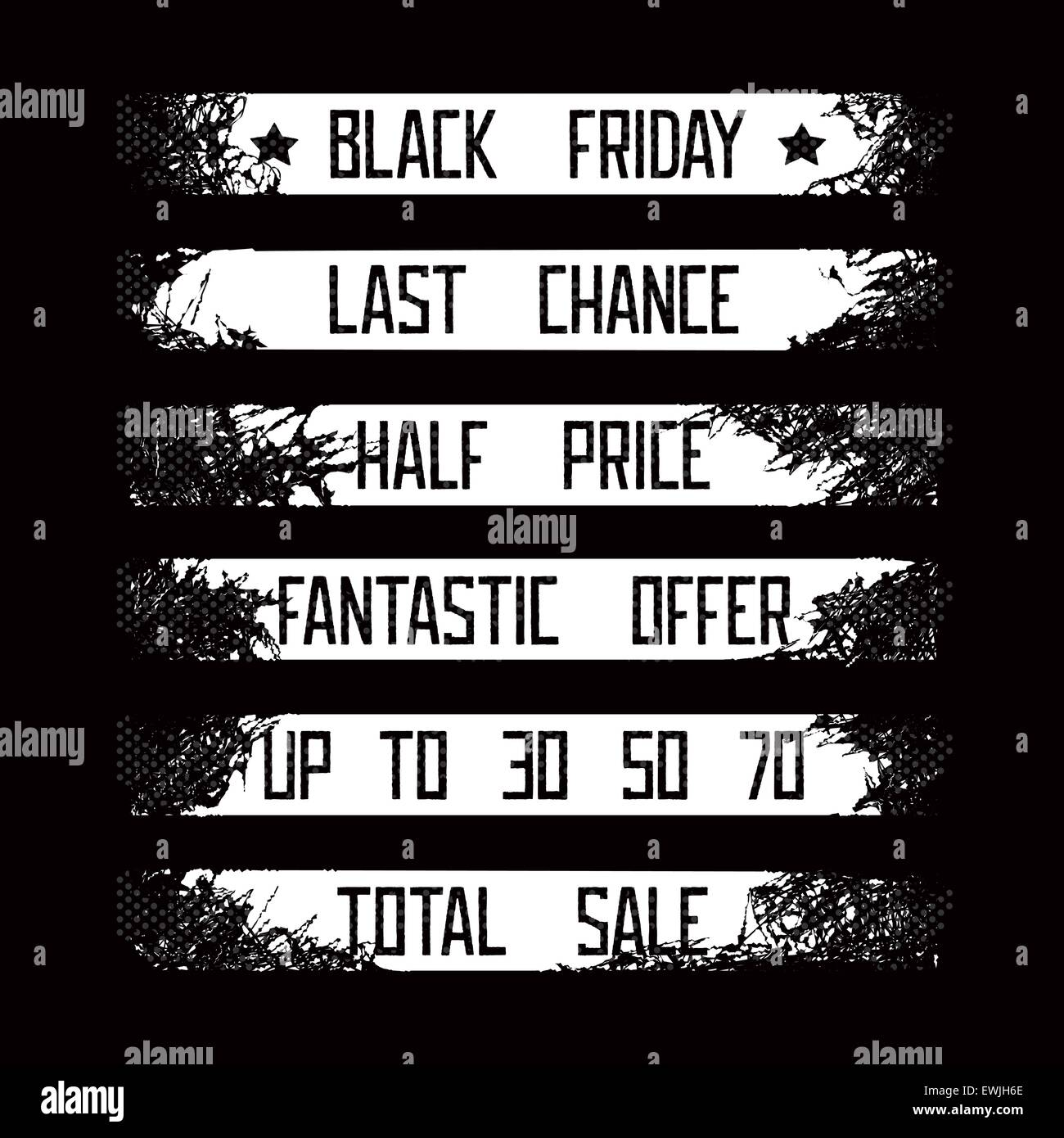 Ensemble de grunge éléments de conception pour les ventes saisonnières - vendredi noir. 8 EPS vectoriel Photo Stock