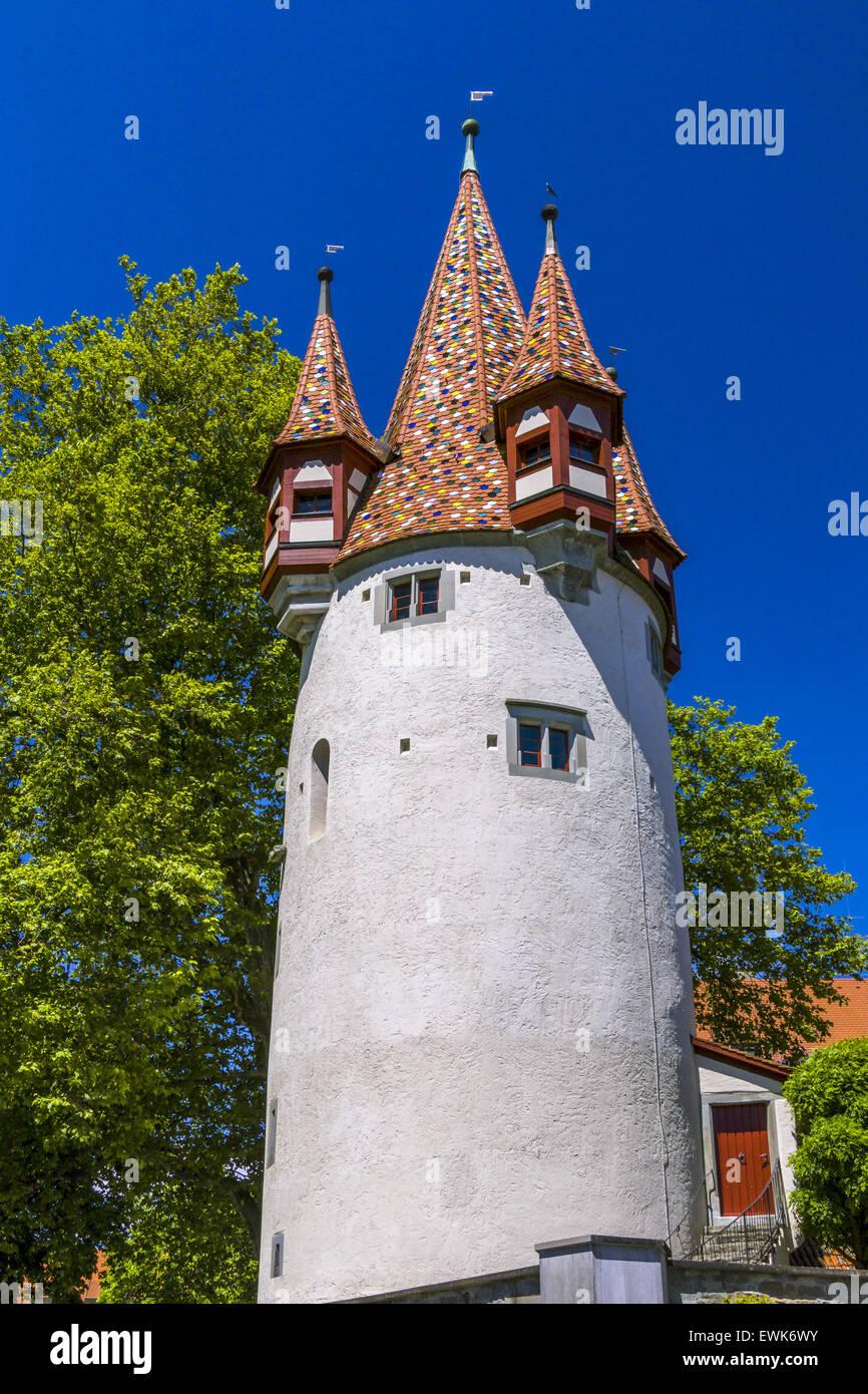 Sur Diebsturm Schrannenplatz, Lindau, Bavaria, Germany, Europe Banque D'Images