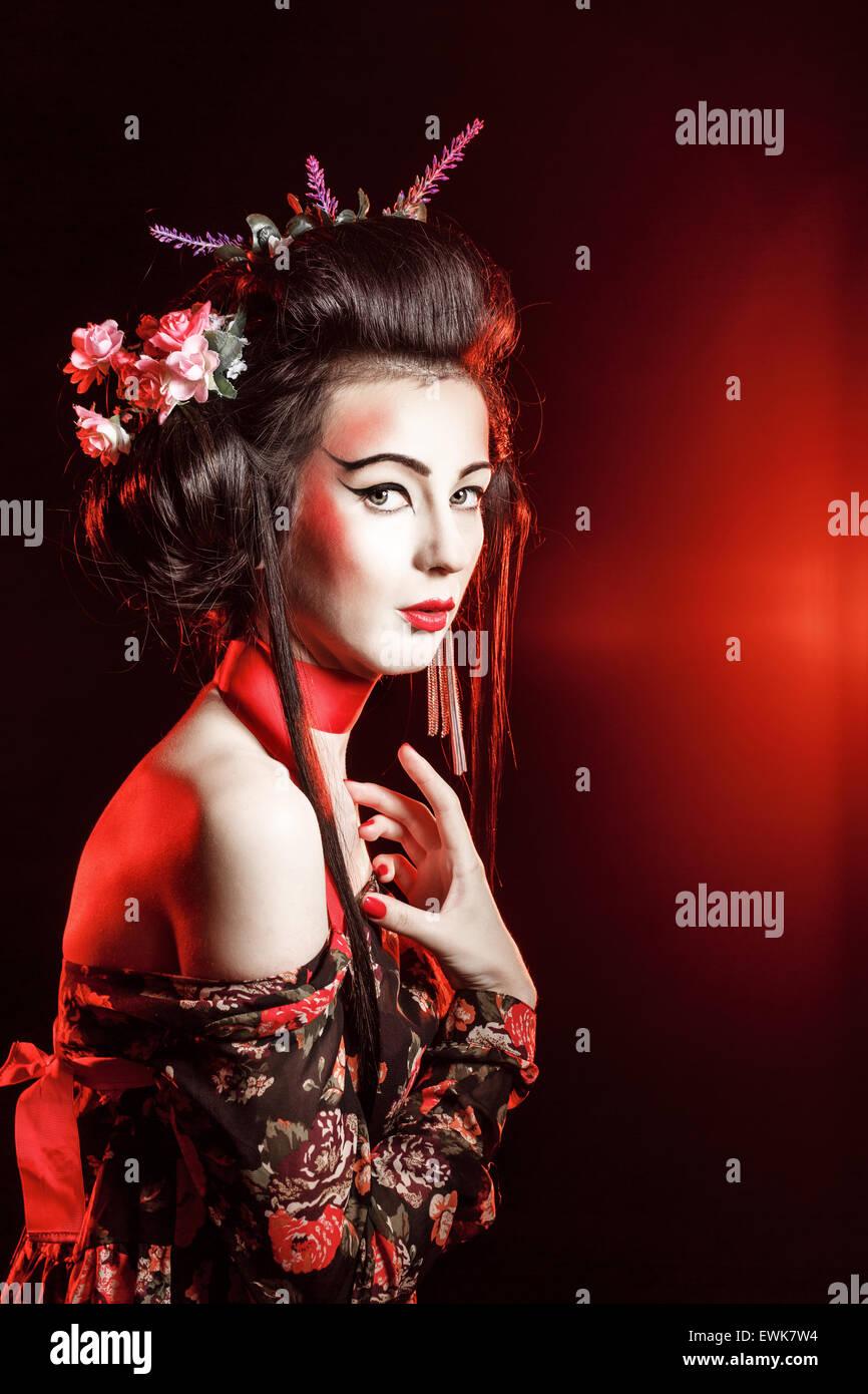 Le Concept De La Tradition Japonaise Geisha Avec Maquillage