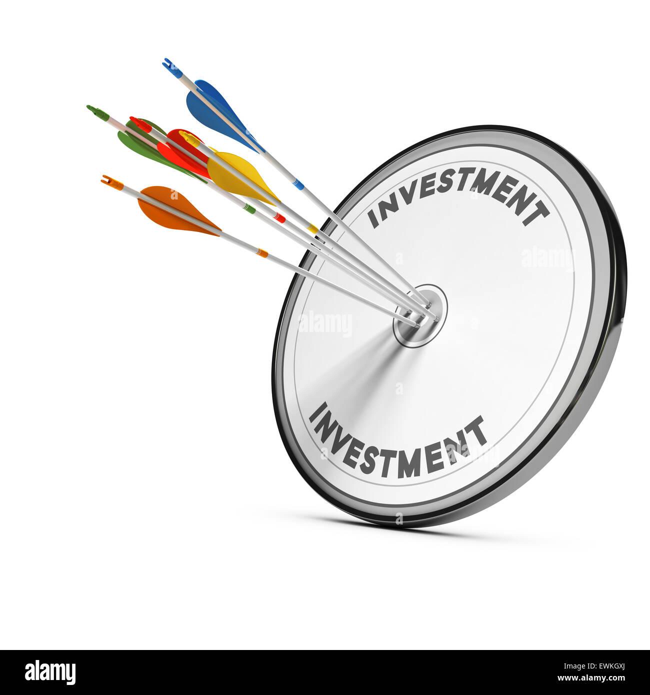 Cinq flèches en appuyant sur le centre d'une cible d'investissement financier, de l'image concept Photo Stock