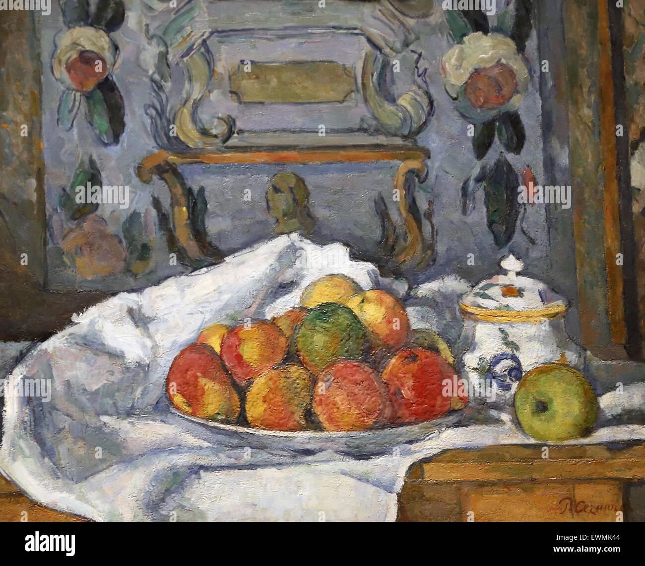 Paul Cézanne (1839-1906). Le peintre français. Plat de pommes, 1876-1877 Au. L'huile de toile. Metropolitan Photo Stock