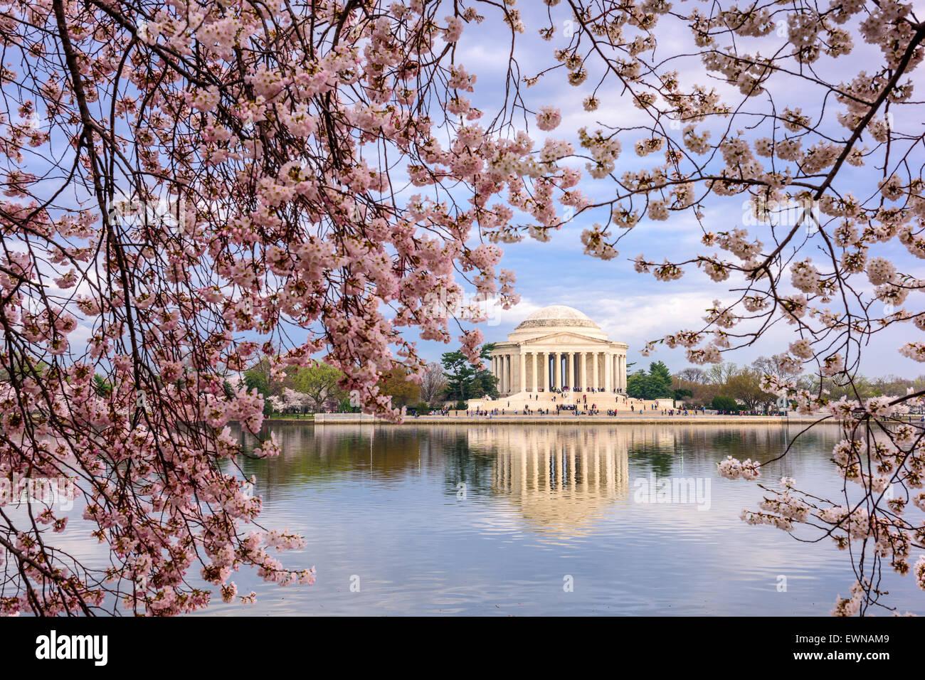 Washington, DC au Tidal Basin et Jefferson Memorial au printemps. Photo Stock