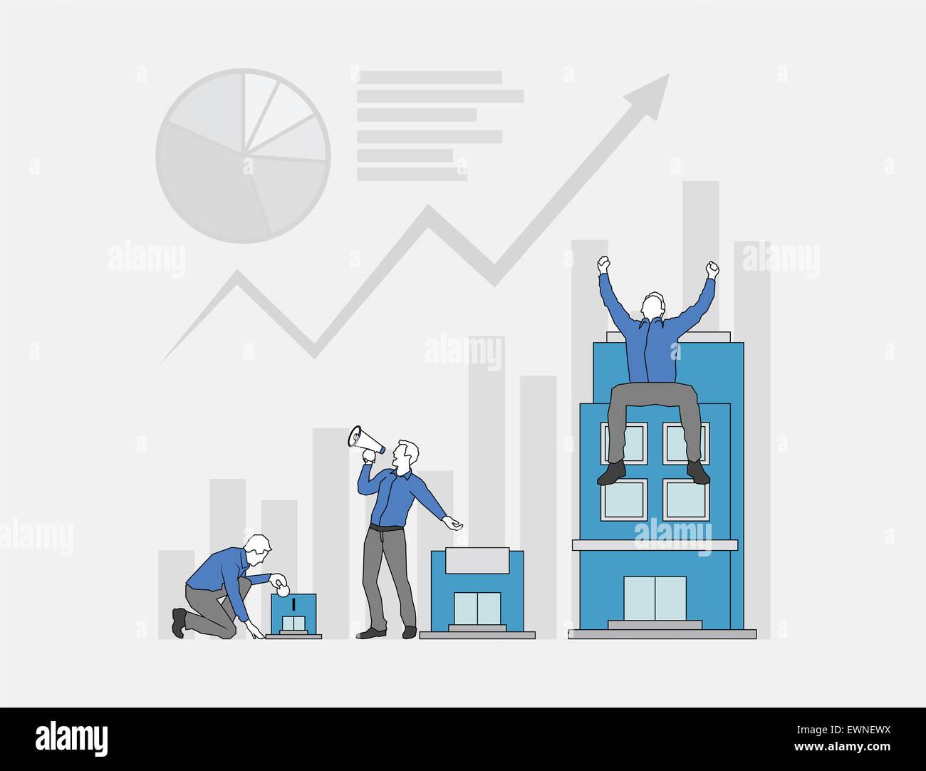 De multiples processus de croissance des bénéfices des entreprises Photo Stock