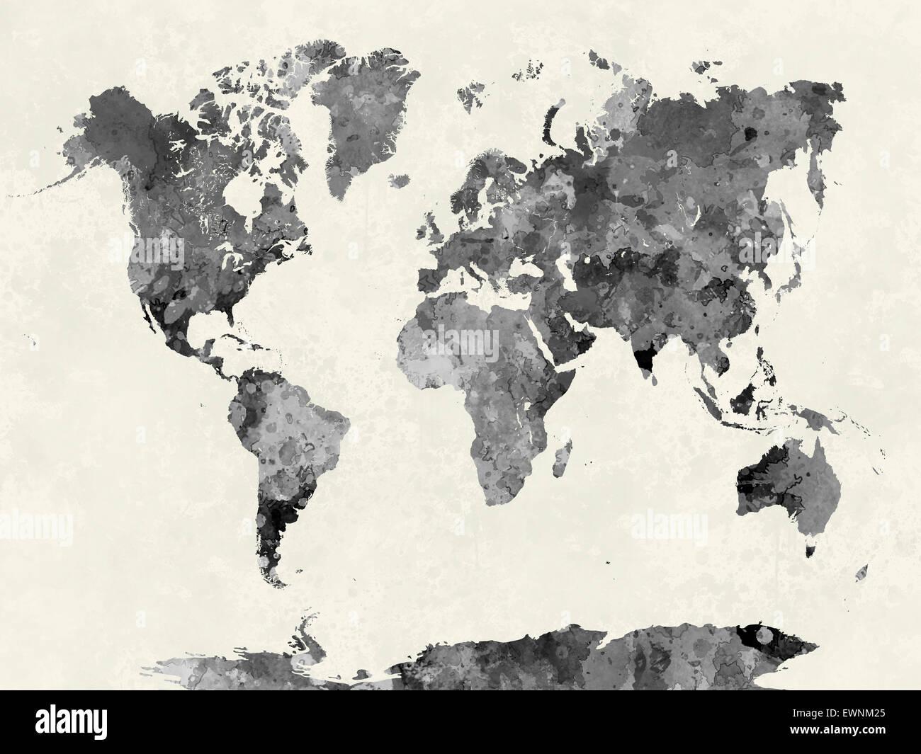 Carte du monde à l'aquarelle peinture abstraite des éclaboussures Photo Stock