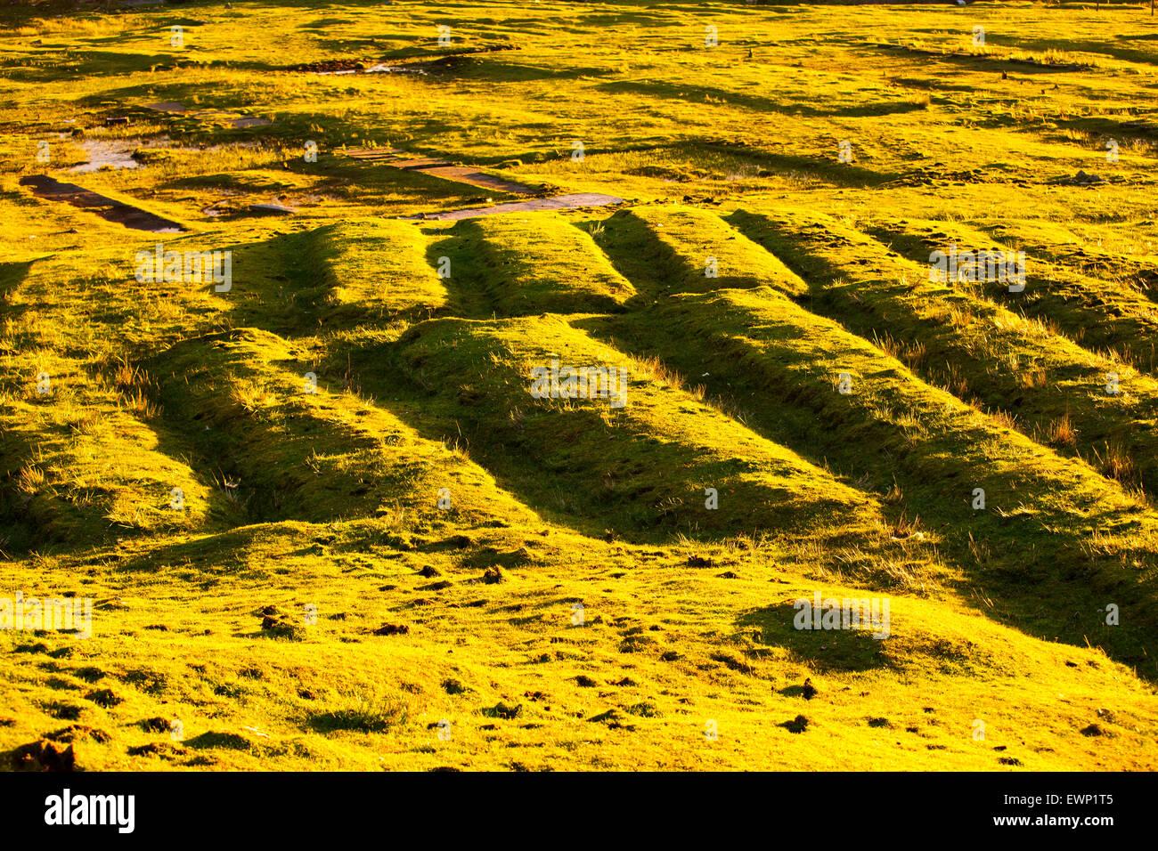 Lits paresseux, vieille crofting structures dans un champ de Leverburgh, Isle of Harris, Hébrides extérieures, Photo Stock