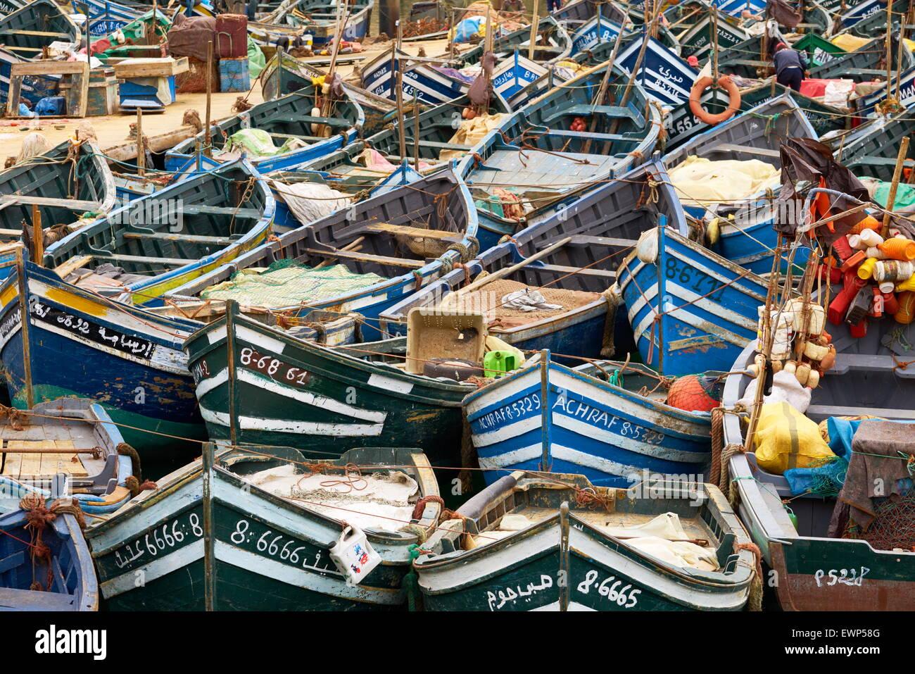 Agadir, des bateaux de pêche dans le vieux port. Maroc Photo Stock