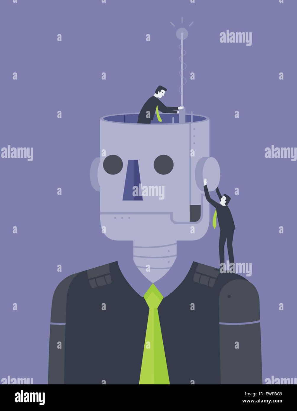 Les gens d'affaires des entreprises innovantes robot Photo Stock