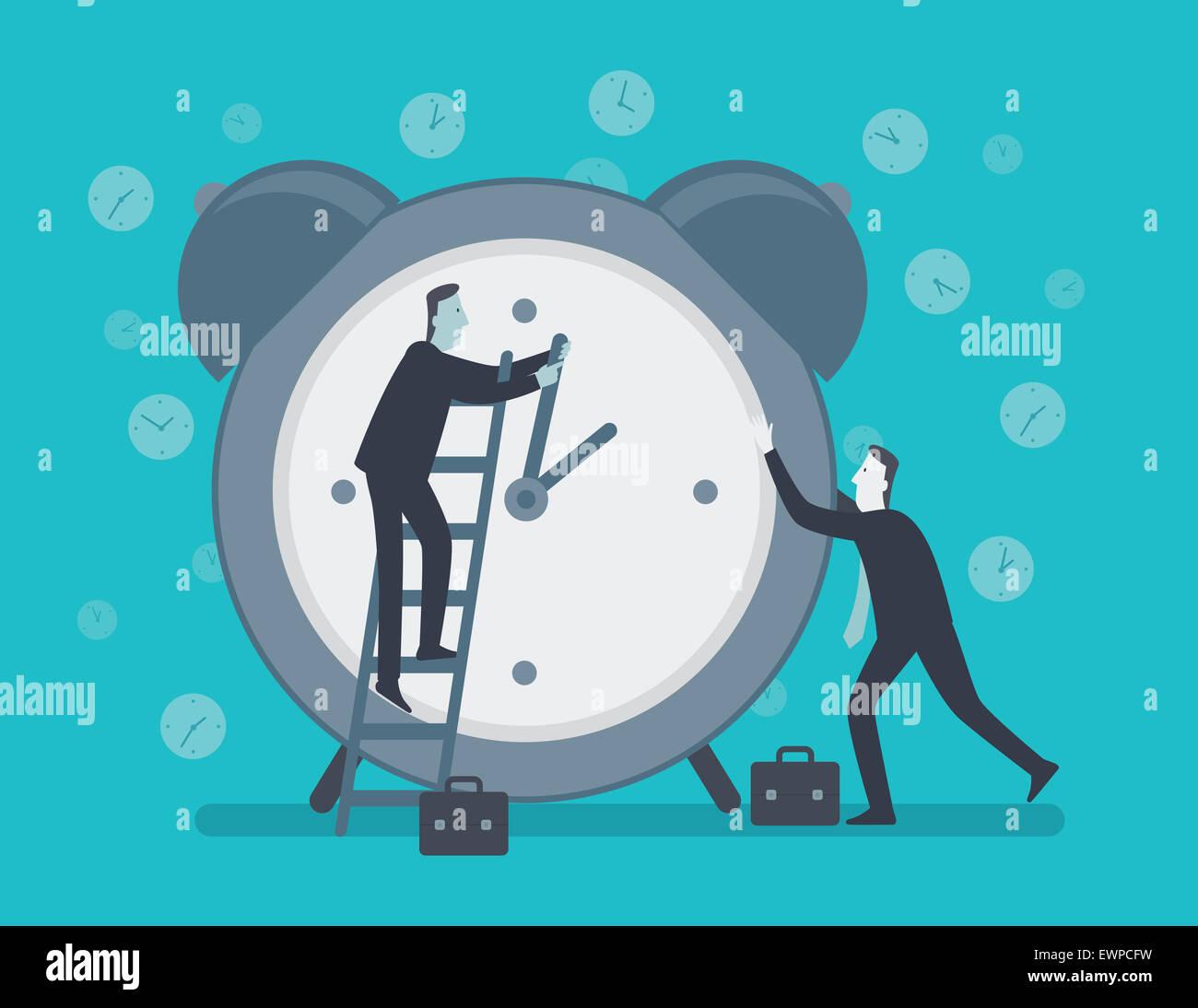 Conceptual image représentant des hommes d'essayer d'arrêter le temps Banque D'Images