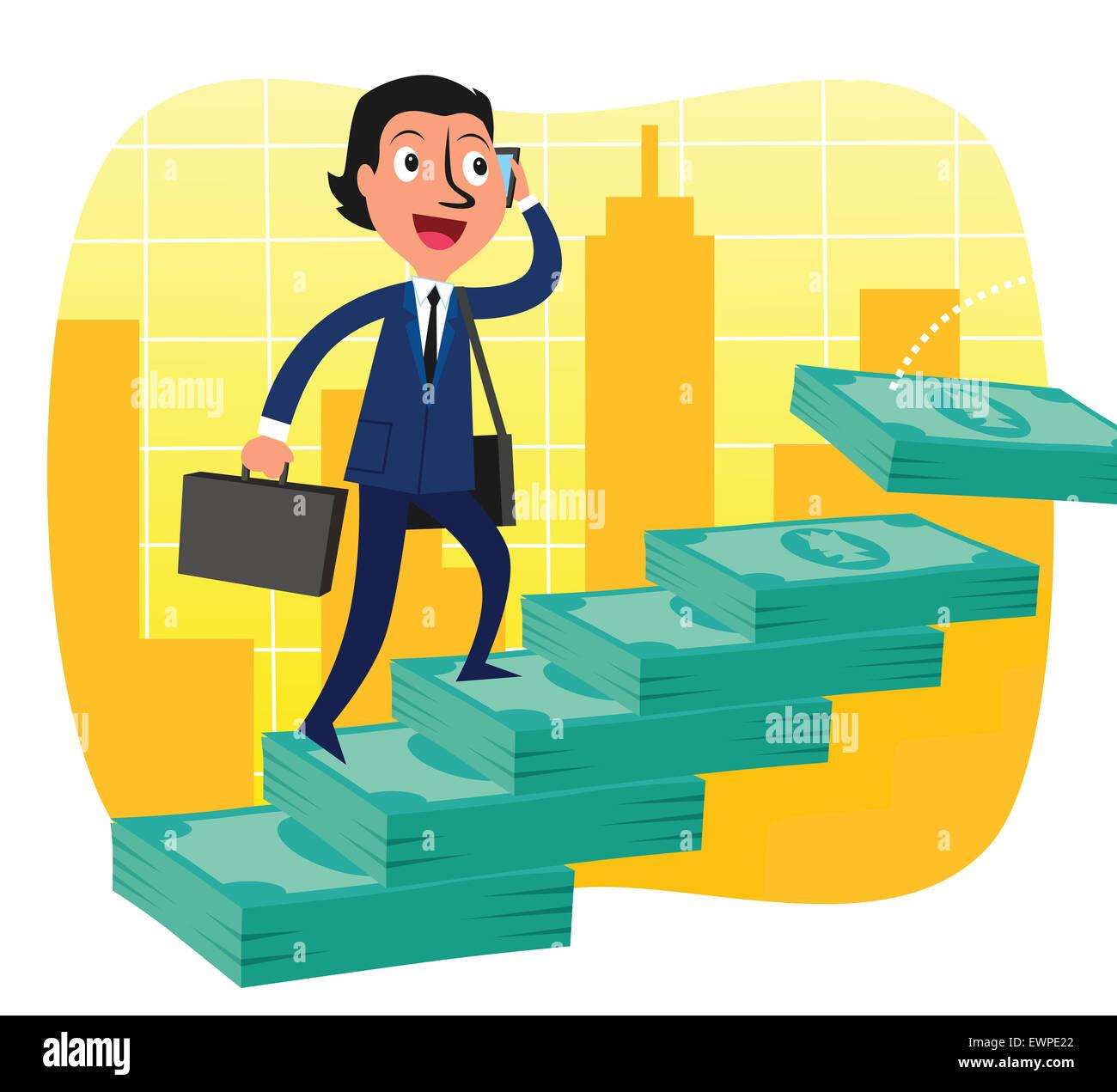 Businessman stepping sur l'échelle de succès de billets Banque D'Images