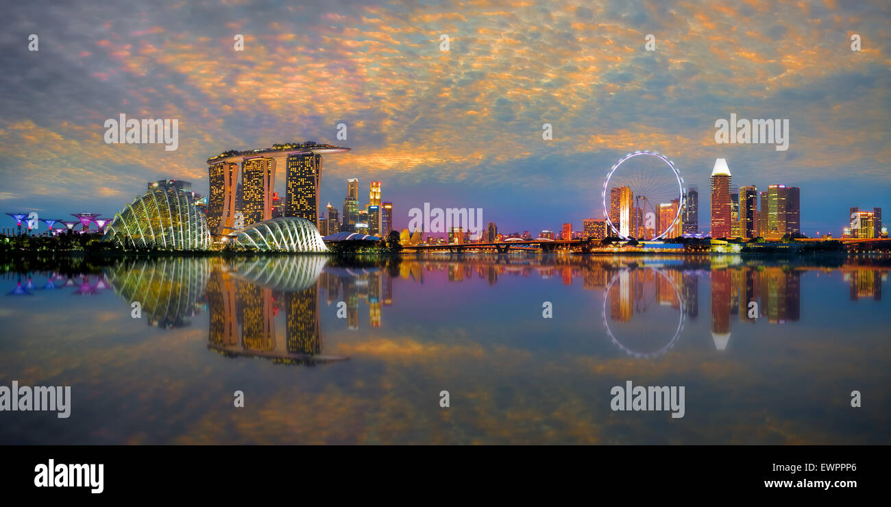 Singapour Skyline Panorama Photo Stock