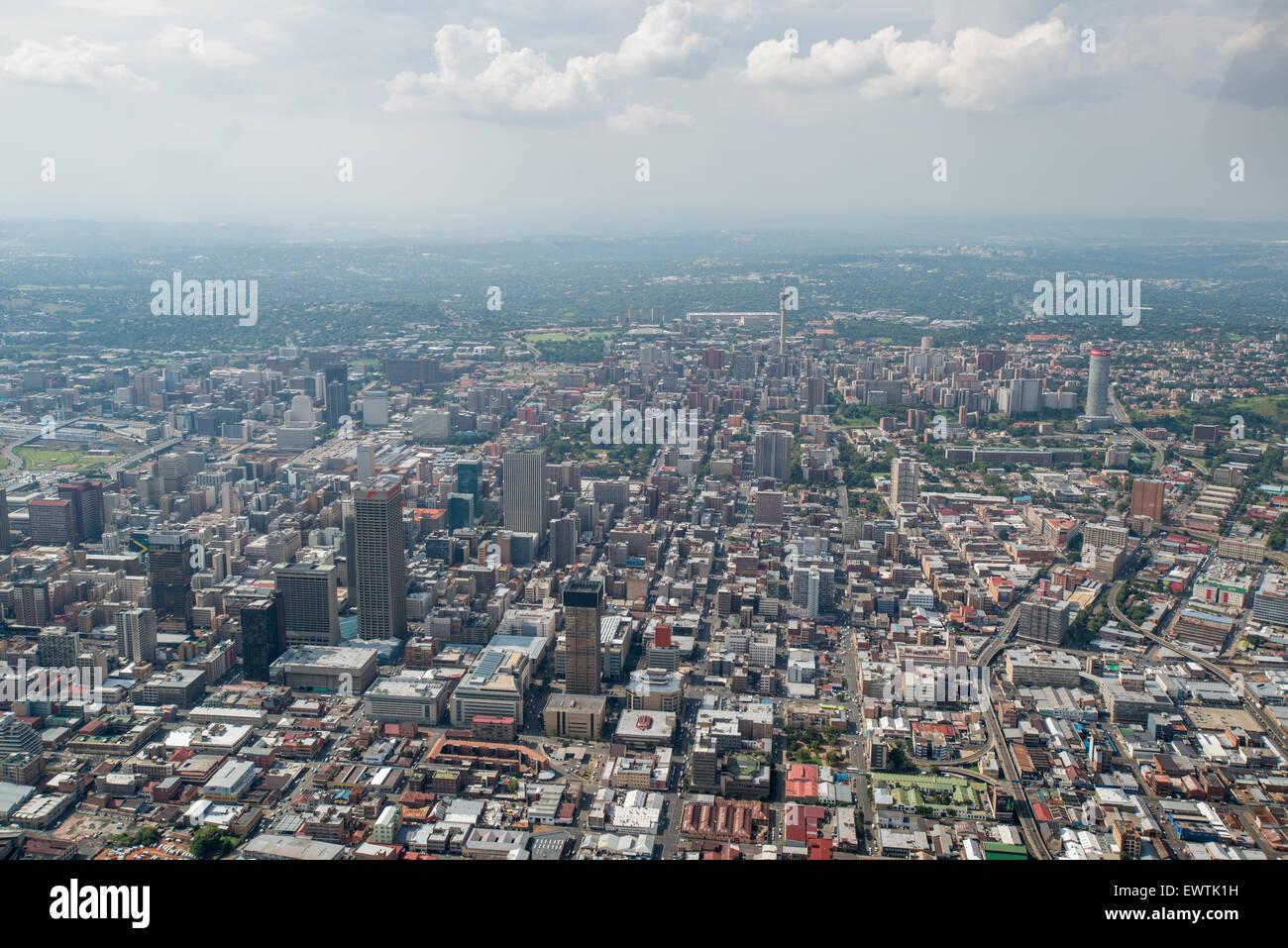 L'AFRIQUE DU SUD- vue aérienne de Johannesburg Photo Stock