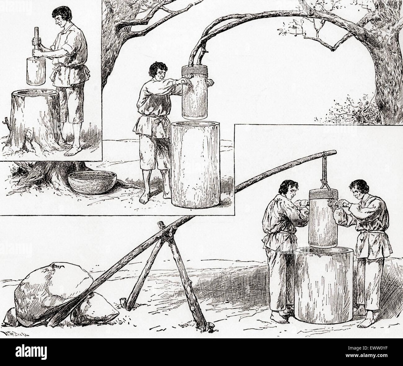 Modes de primitives de maïs de meulage. Photo Stock
