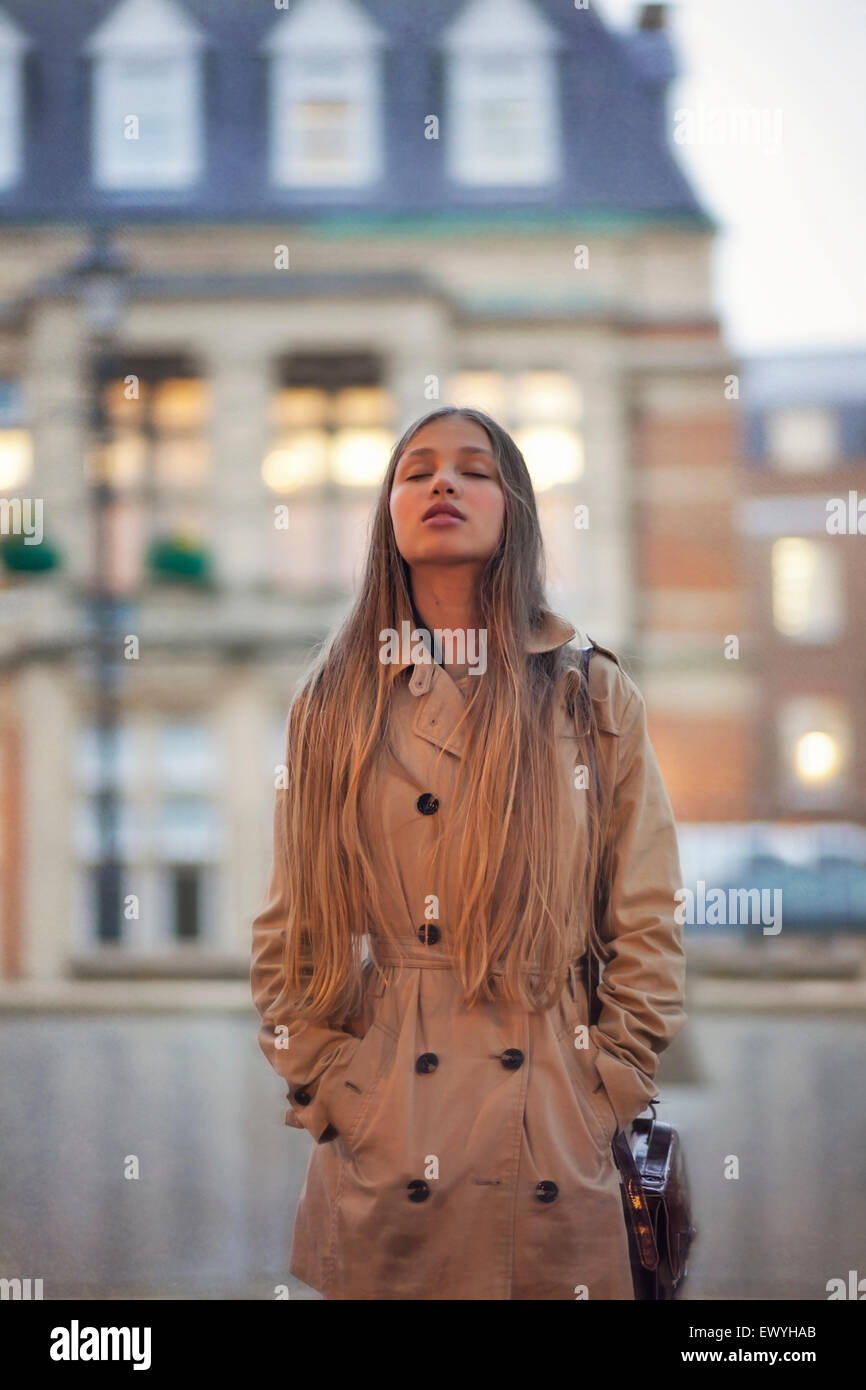 Teenage Girl with Closed Eyes Photo Stock