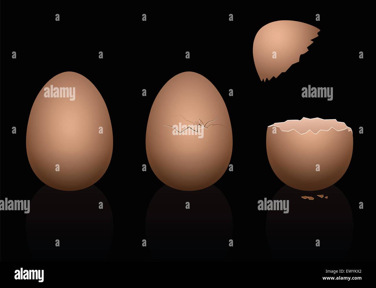 Trois œufs de poule brun - intacts, cassée et ouverte. Illustration tridimensionnelle sur fond noir. Photo Stock