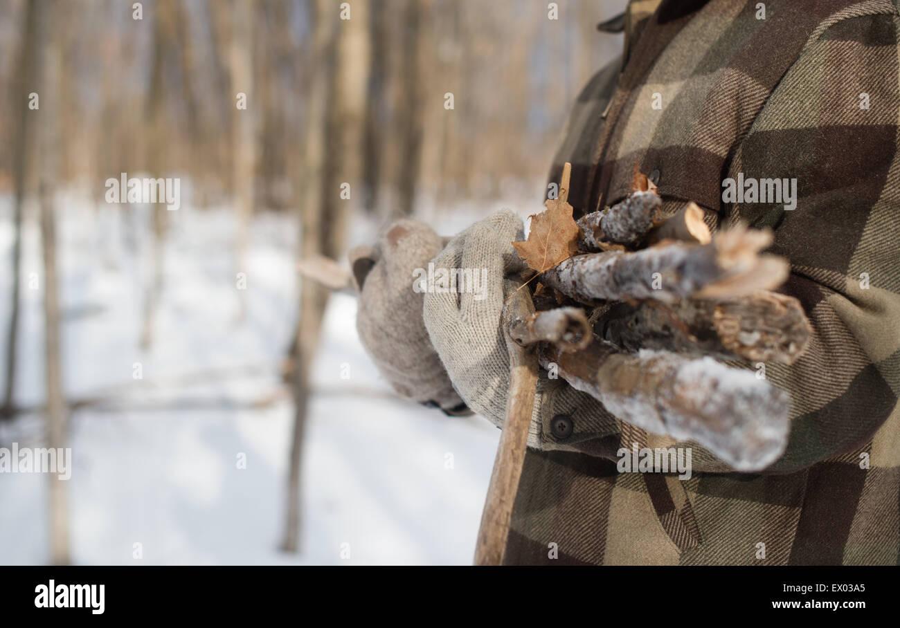 L'homme la collecte du bois en forêt, Young's Point, Ontario, Canada Photo Stock