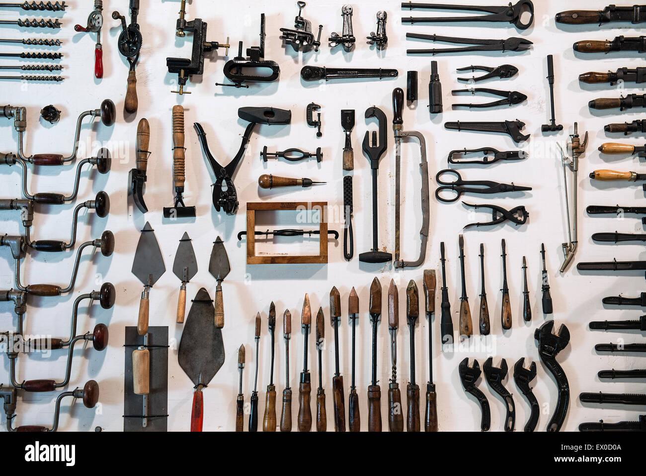 Collection d'outils anciens. Banque D'Images