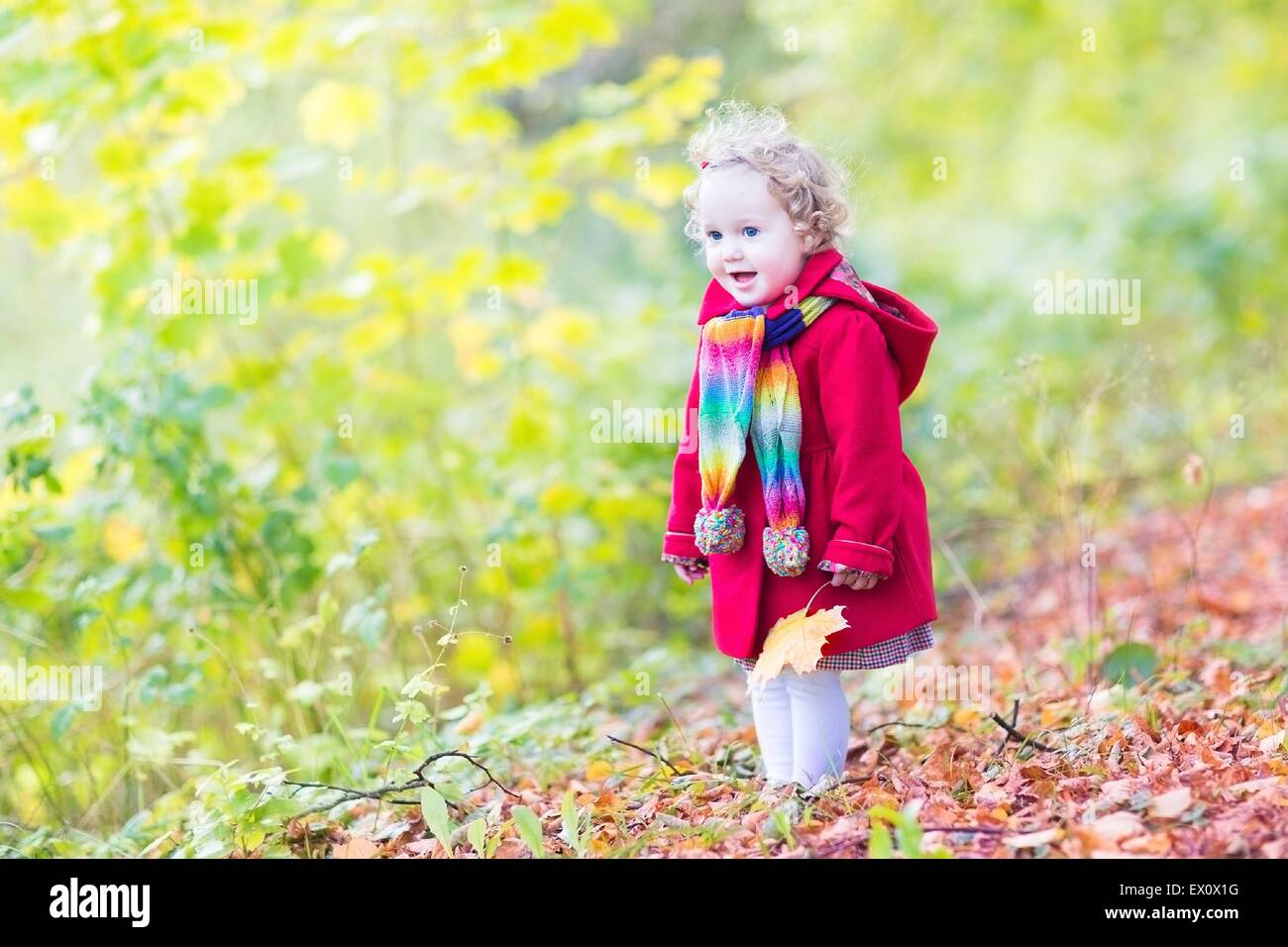 Adorable bébé fille dans un manteau rouge et foulard coloré jouant avec  jaune feuilles d  a802340b126