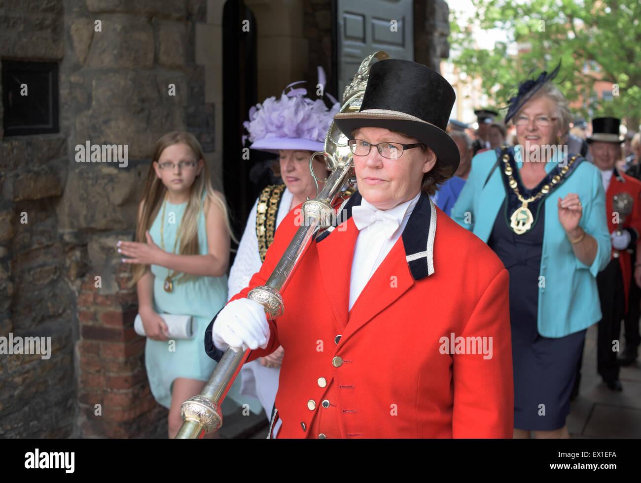 Nottingham, Royaume-Uni. Le 04 juillet, 2015. Le conseiller Jackie Morris est assermenté comme nouveau maire, Photo Stock